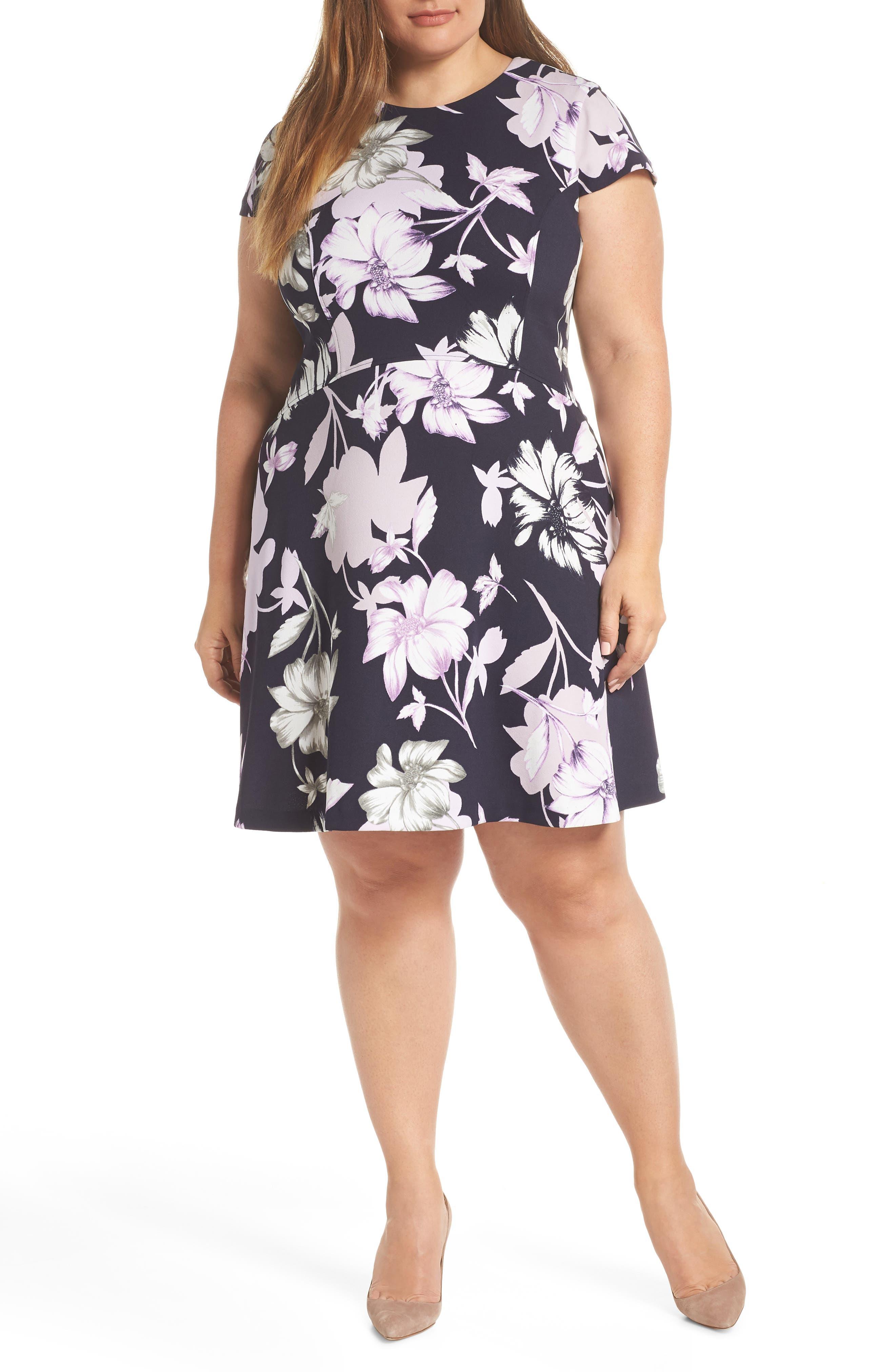 Plus Size Vince Camuto Floral Scuba Dress, Purple