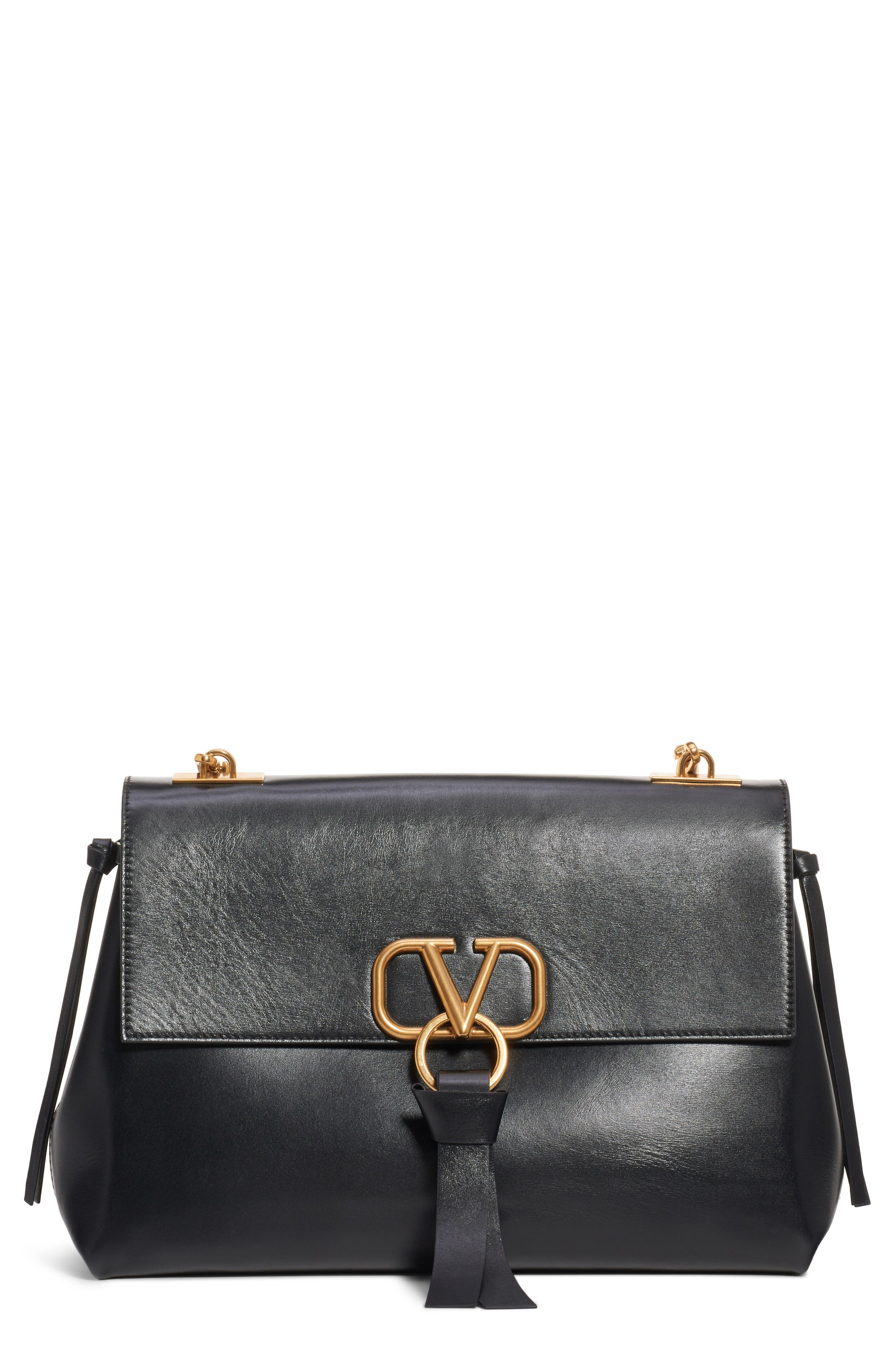 Medium Vee Ring Leather Shoulder Bag,                             Main thumbnail 1, color,                             NERO