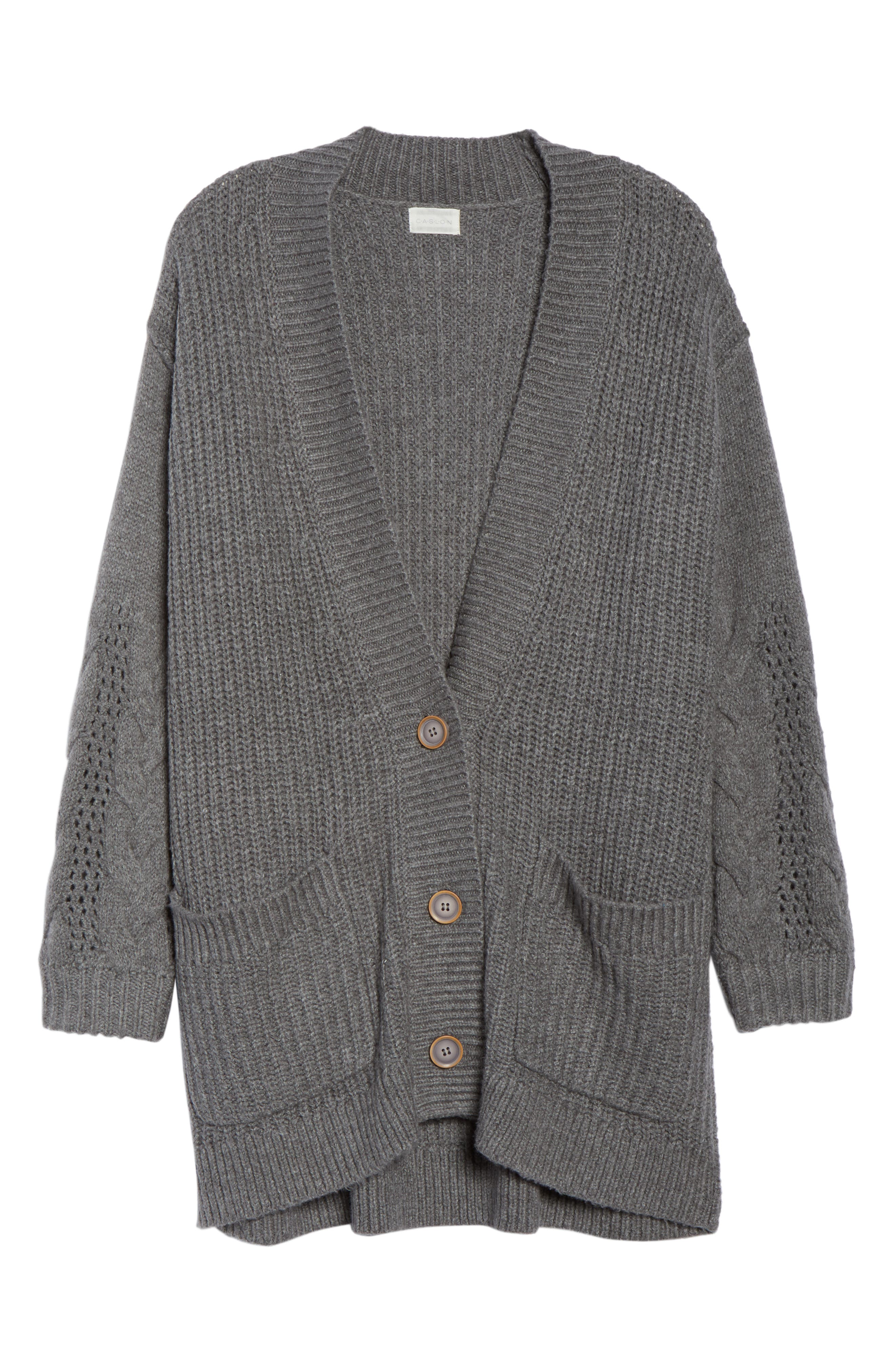 Cable Knit Sleeve Cardigan,                             Alternate thumbnail 6, color,                             GREY DARK HEATHER