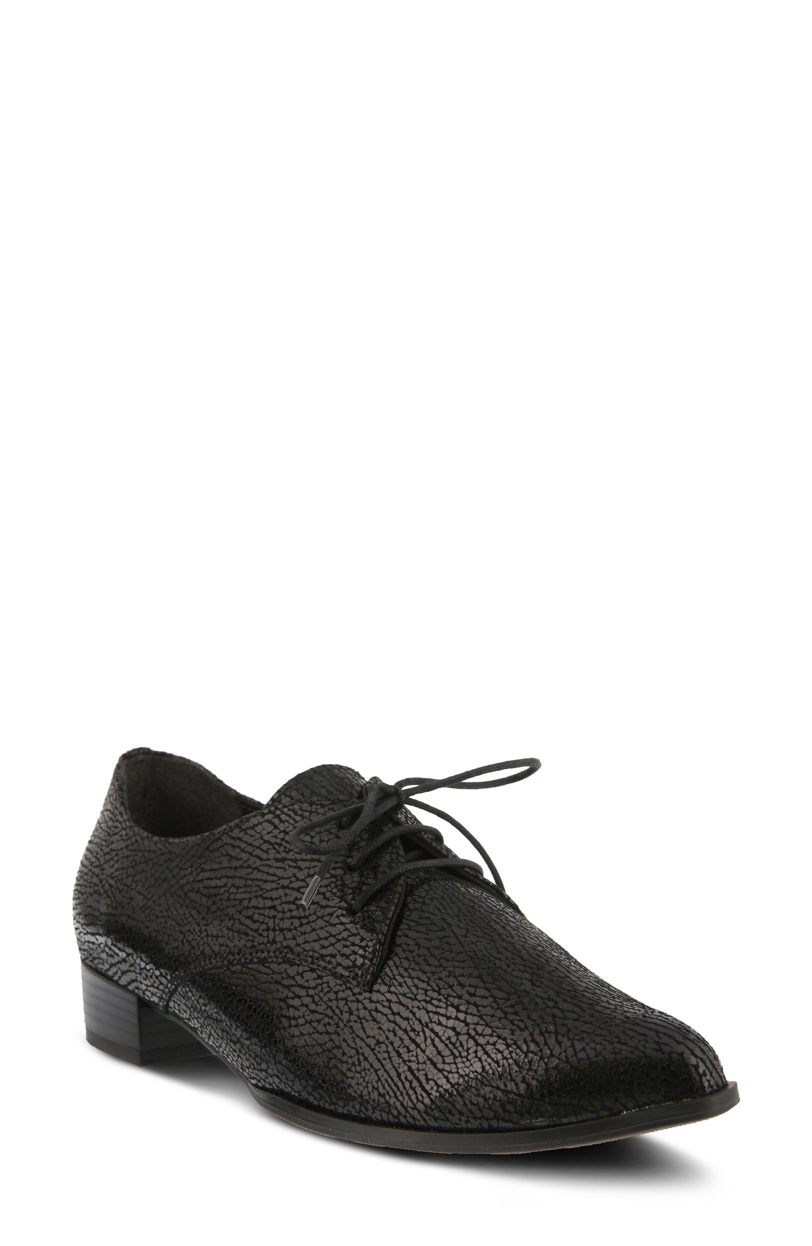Conchetta Lace-Up Derby,                             Main thumbnail 1, color,                             BLACK LEATHER