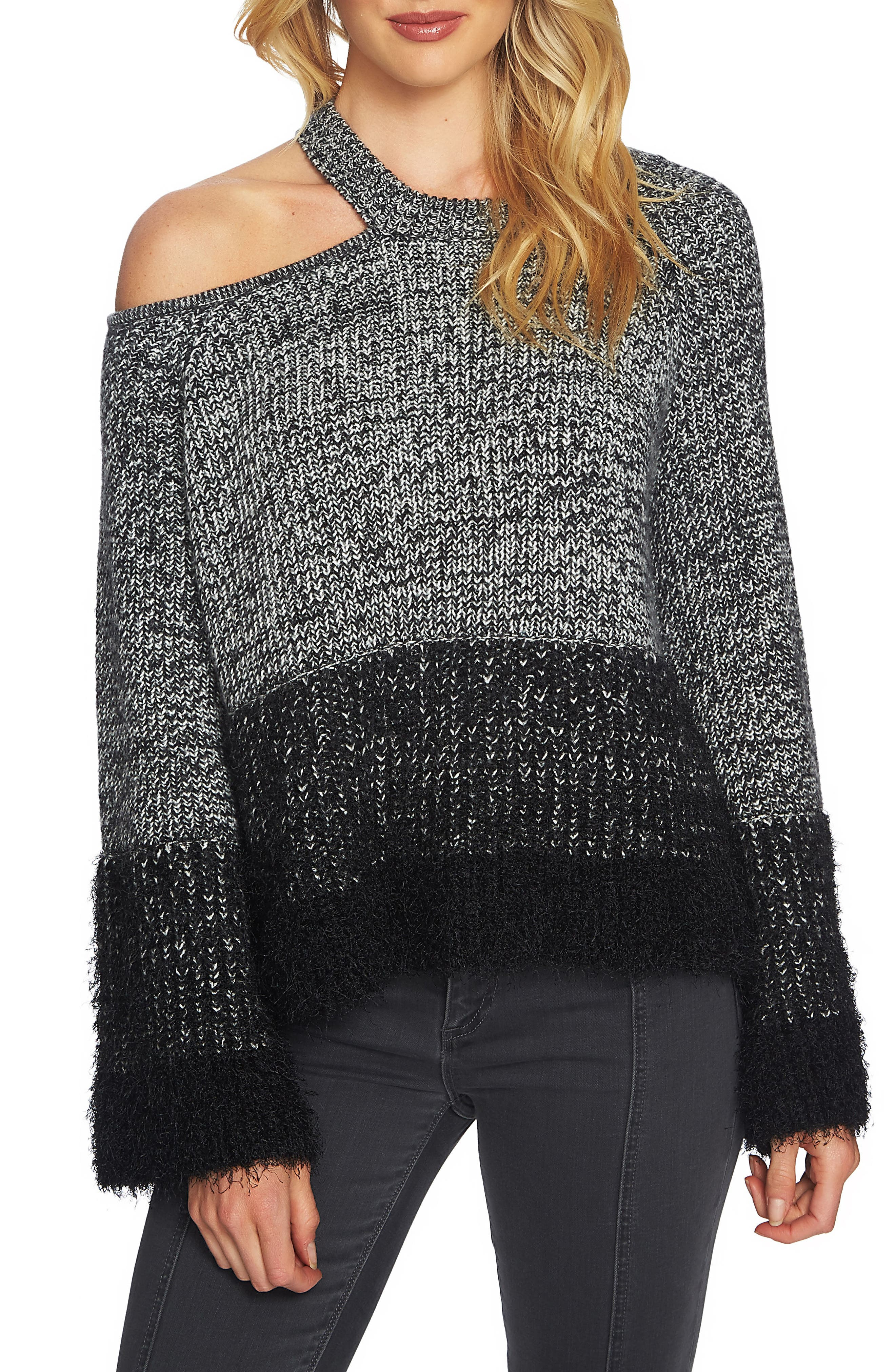 Eyelash Fringe Cutout Sweater,                             Main thumbnail 1, color,                             006
