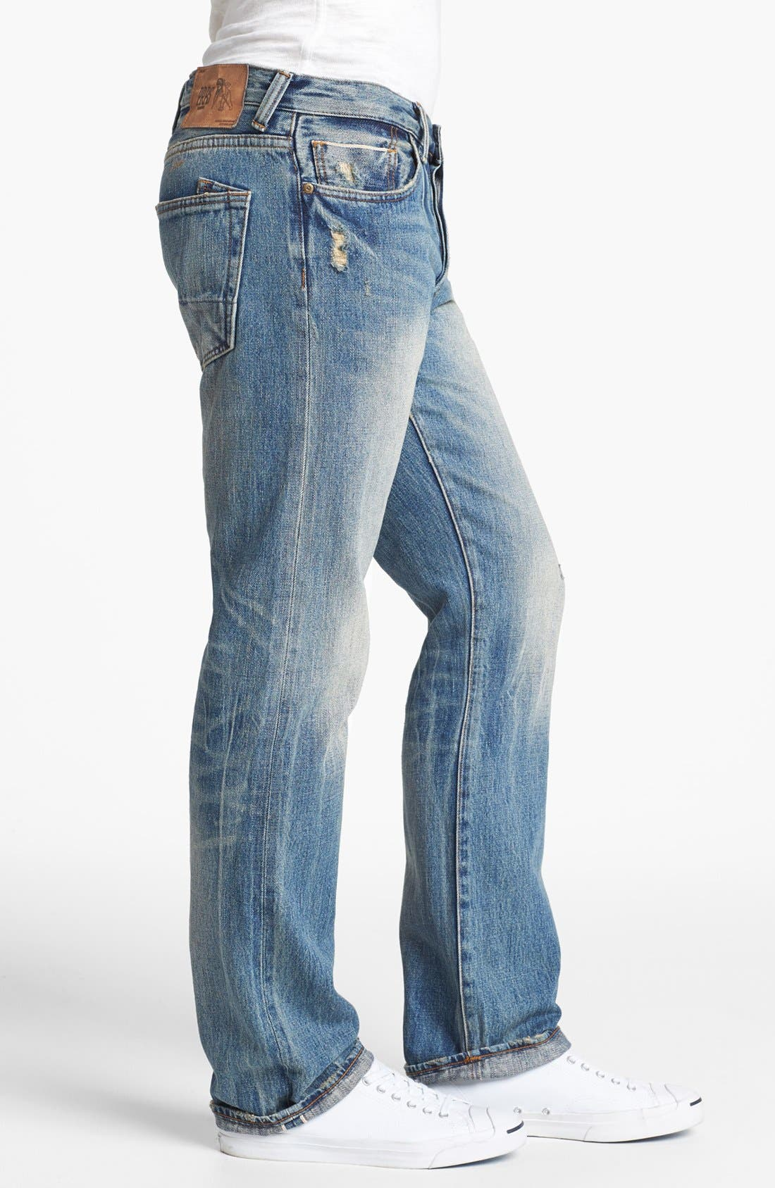 'Barracuda' Straight Leg Selvedge Jeans,                             Alternate thumbnail 4, color,                             450