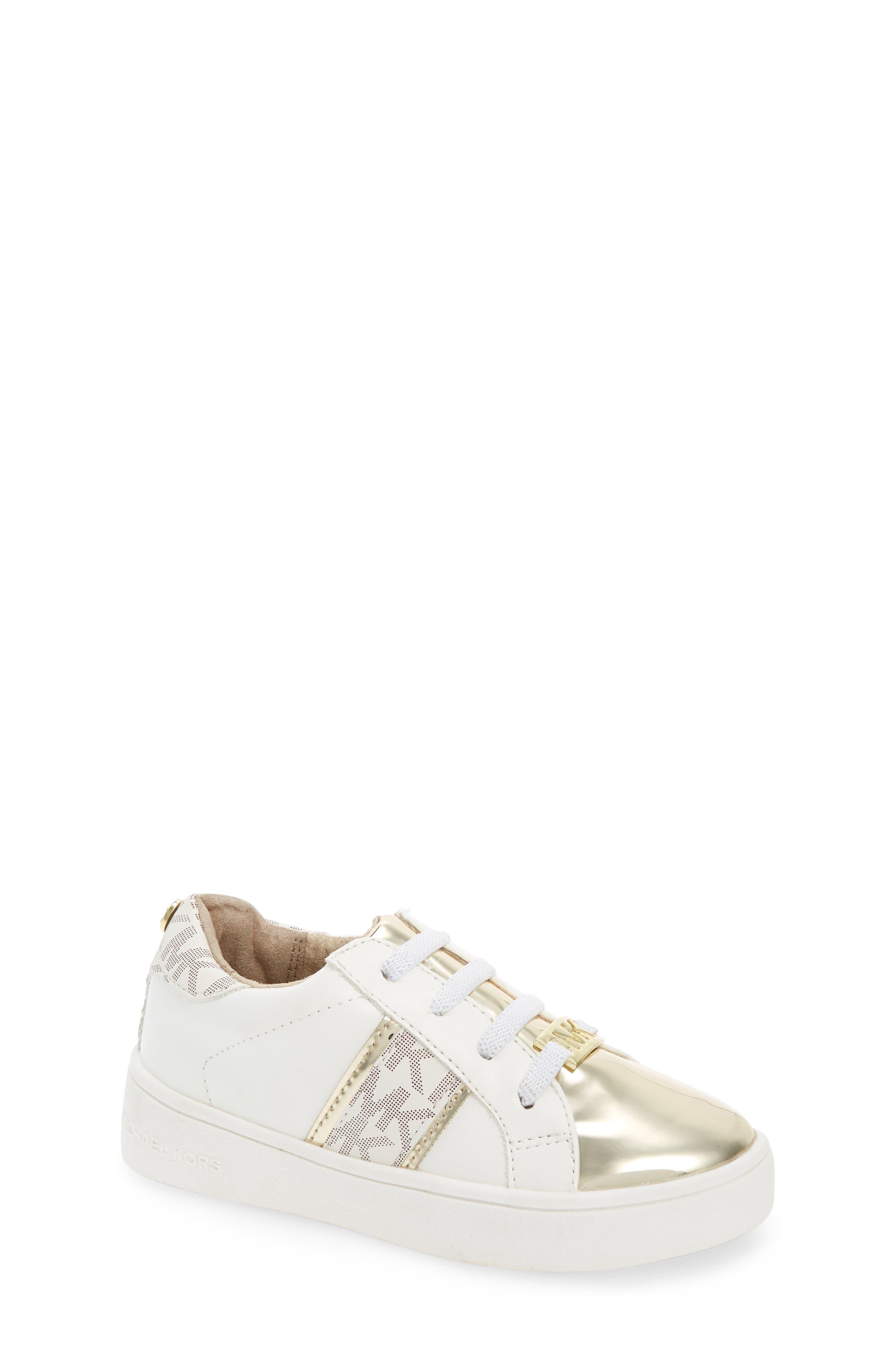 MICHAEL MICHAEL KORS,                             Ivy Frankie Metallic Logo Sneaker,                             Main thumbnail 1, color,                             100