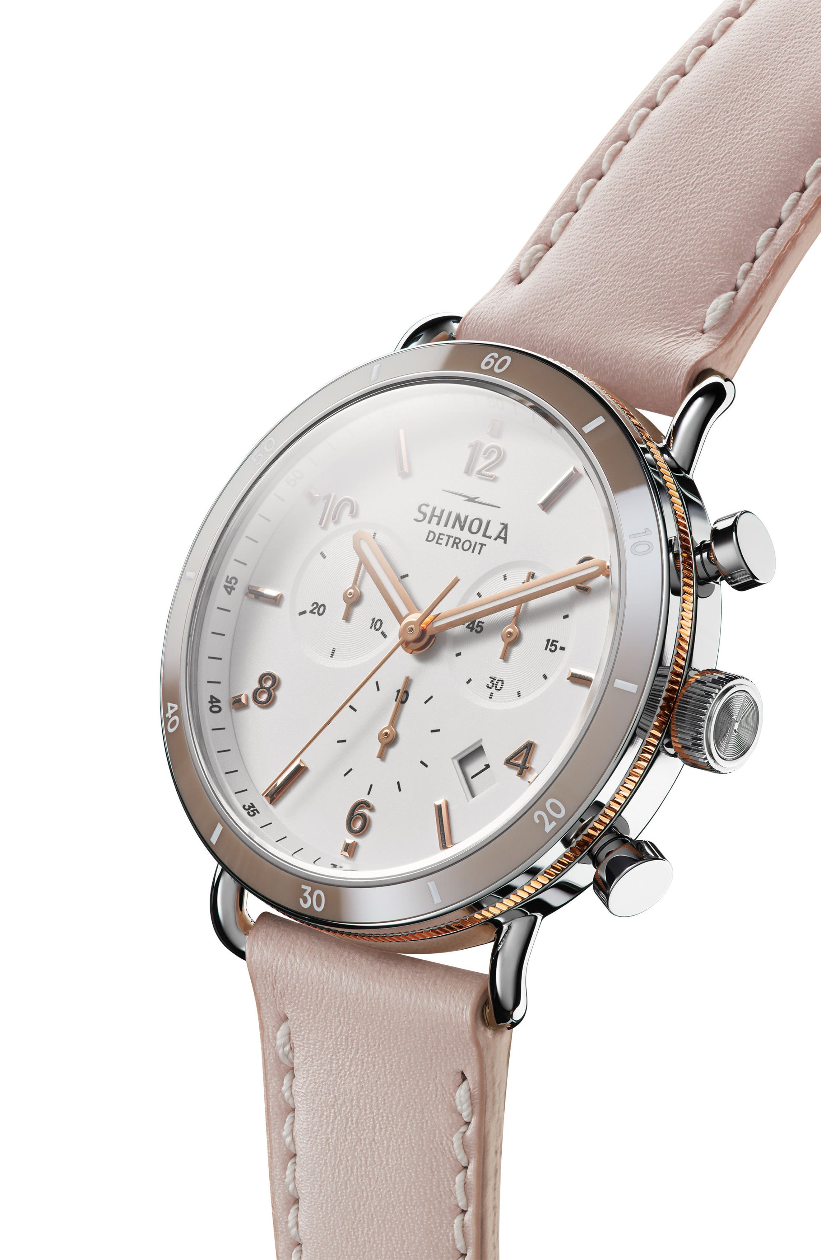 The Canfield Chrono Leather Strap Watch, 40mm,                             Alternate thumbnail 5, color,                             BLUSH/ WHITE/ ROSE GOLD