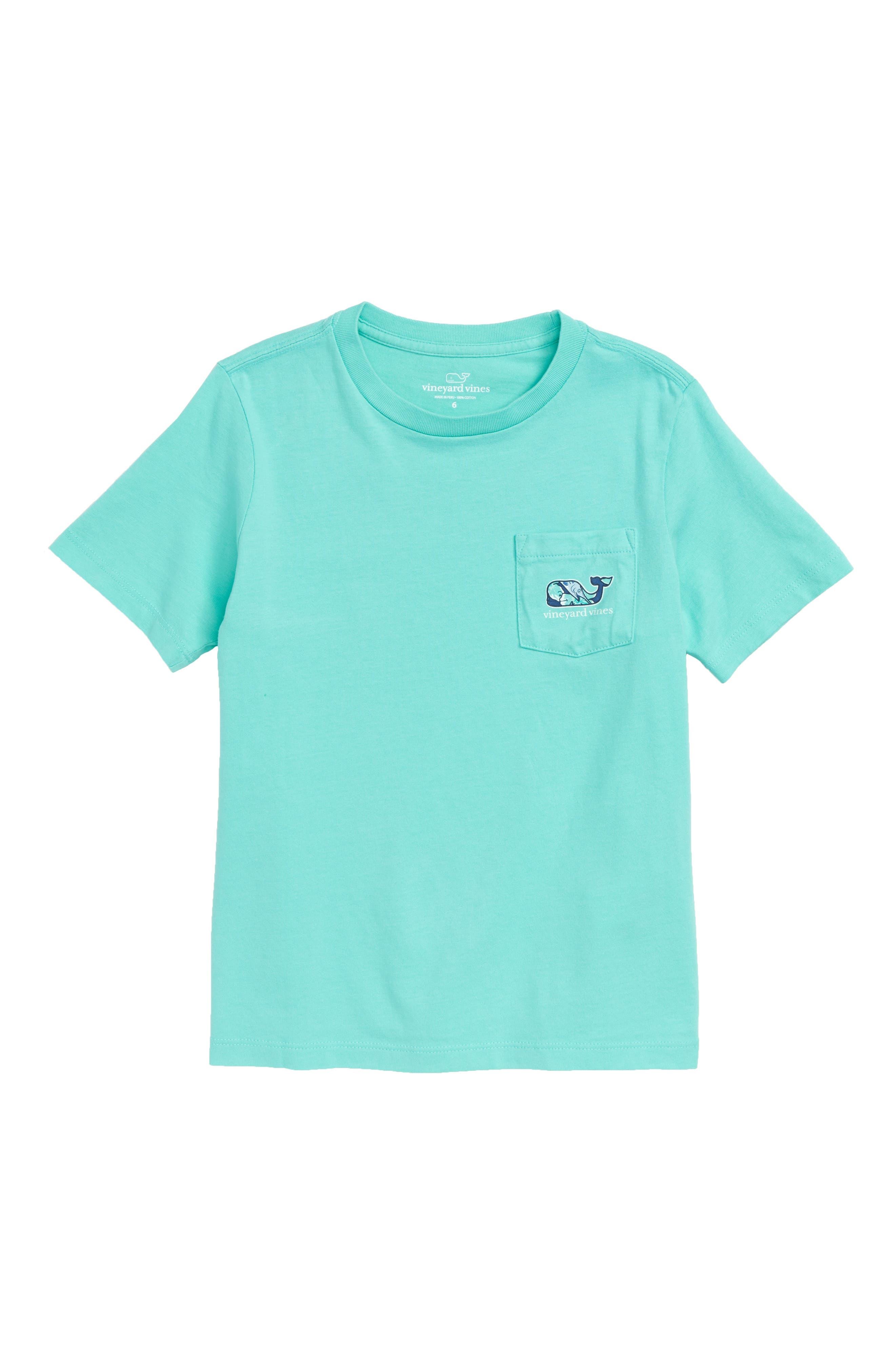 Marlin Flowers Whale Pocket T-Shirt,                         Main,                         color, CAPRI BLUE