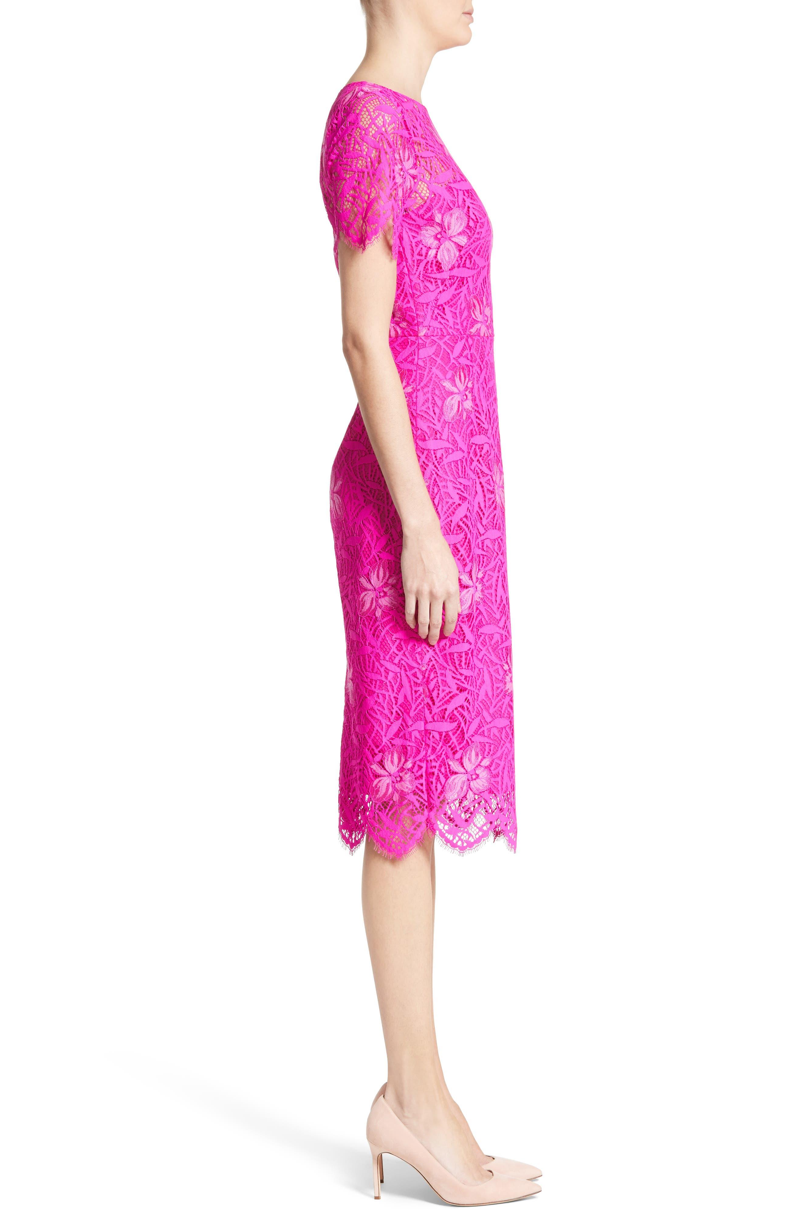 Floral Lace Sheath Dress,                             Alternate thumbnail 3, color,                             659