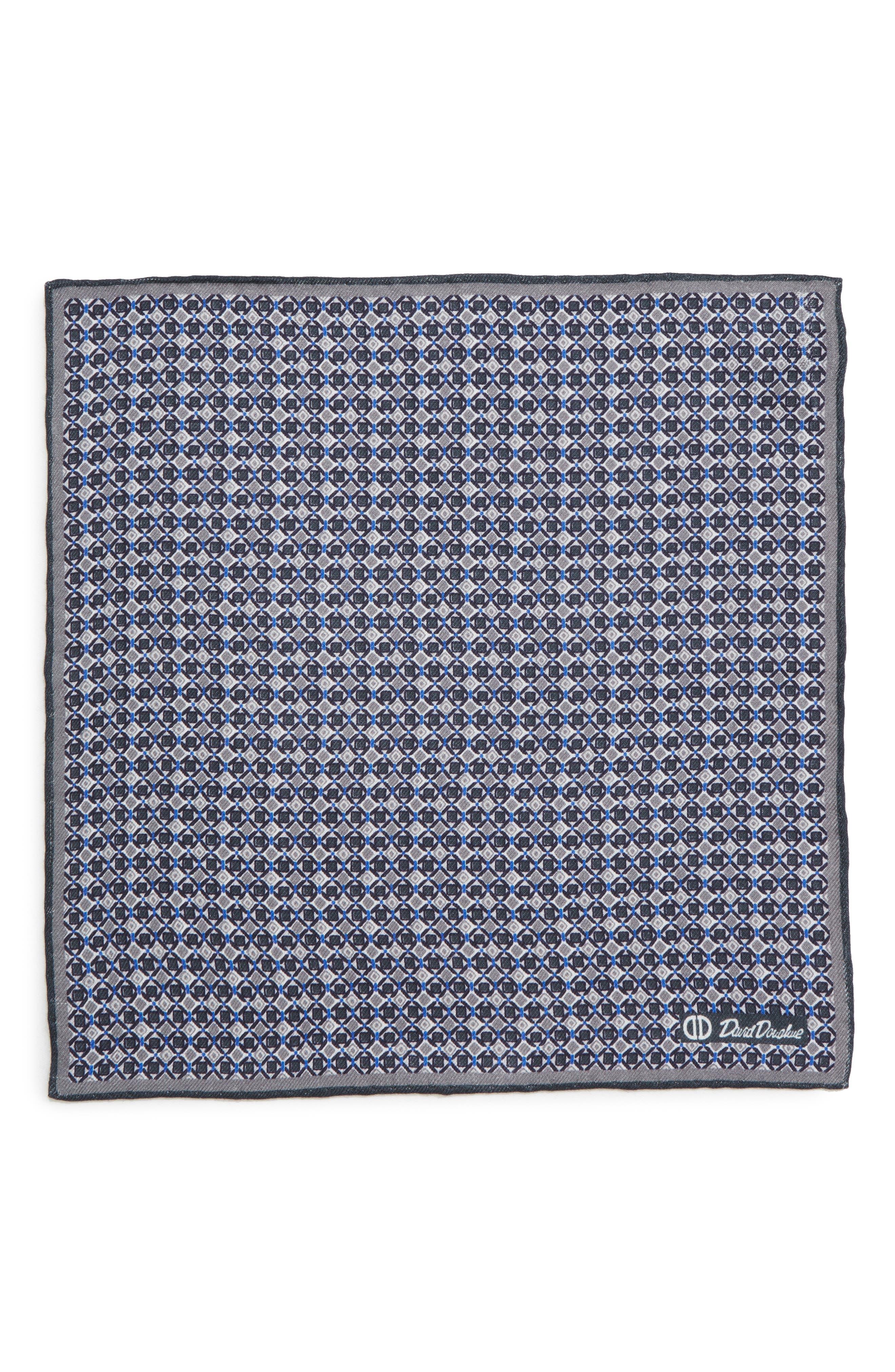 Geometric Wool & Silk Pocket Square,                             Alternate thumbnail 2, color,                             CHARCOAL