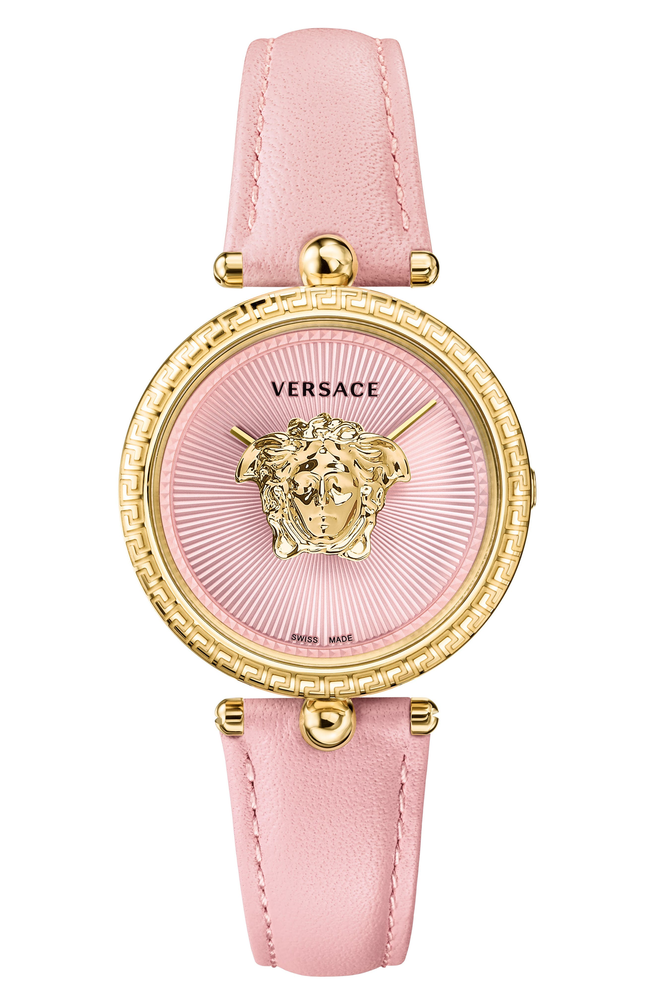 Palazzo Empire Leather Strap Watch, 34mm,                         Main,                         color, PINK/ GOLD