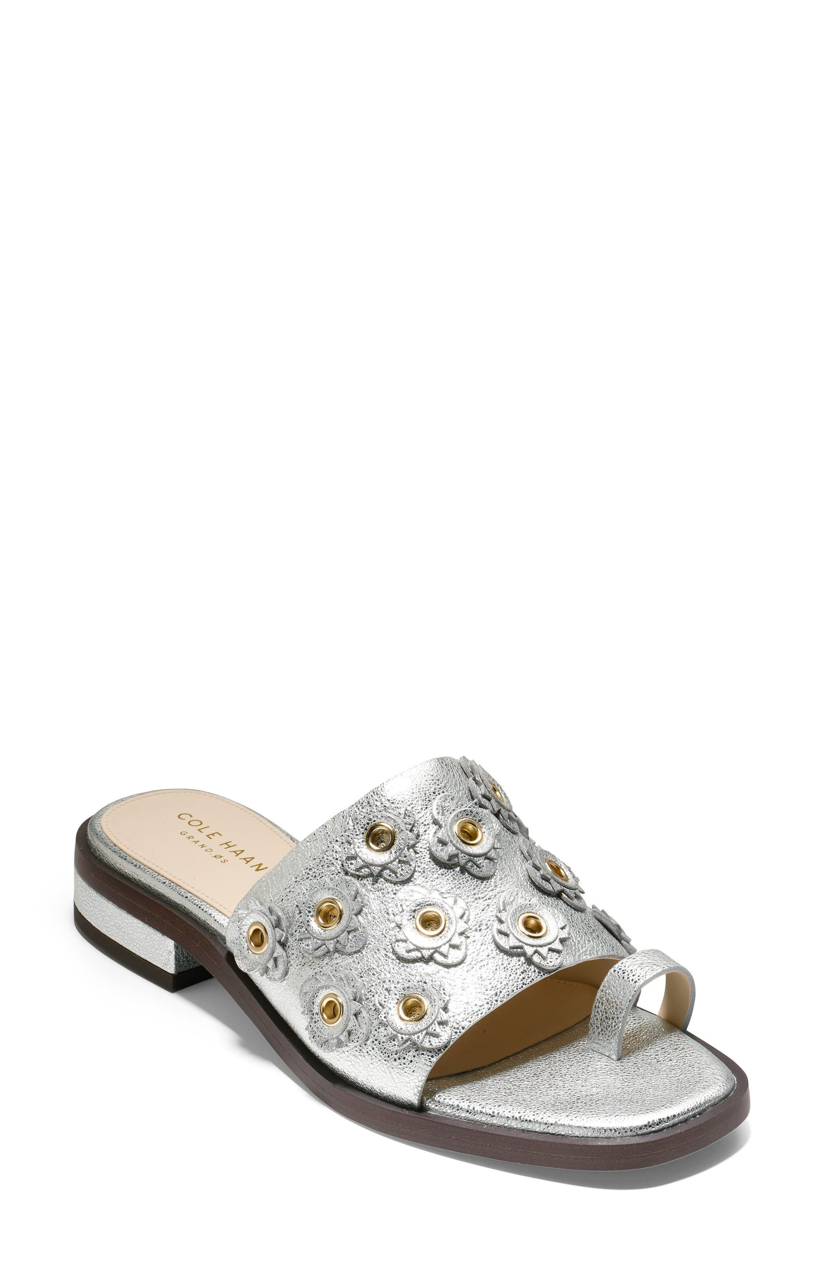Carly Floral Sandal,                             Main thumbnail 1, color,                             SILVER METALLIC LEATHER