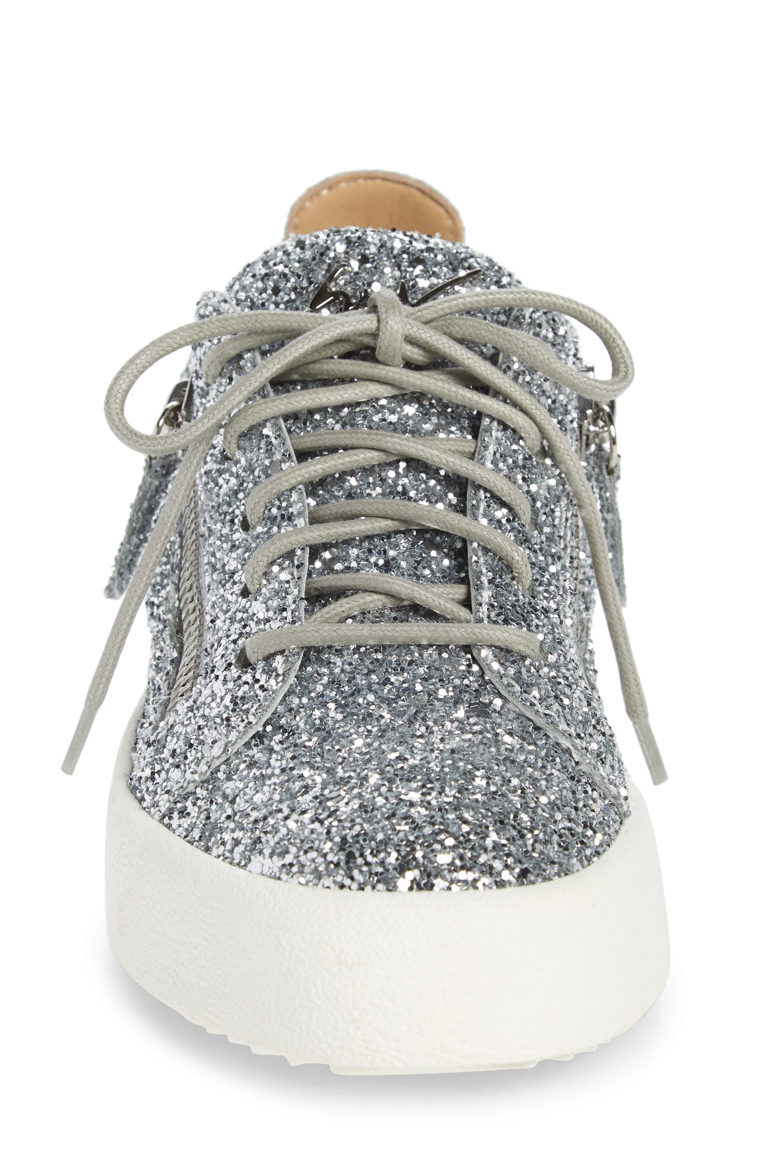 May London Low Top Sneaker,                             Alternate thumbnail 4, color,                             SILVER GLITTER