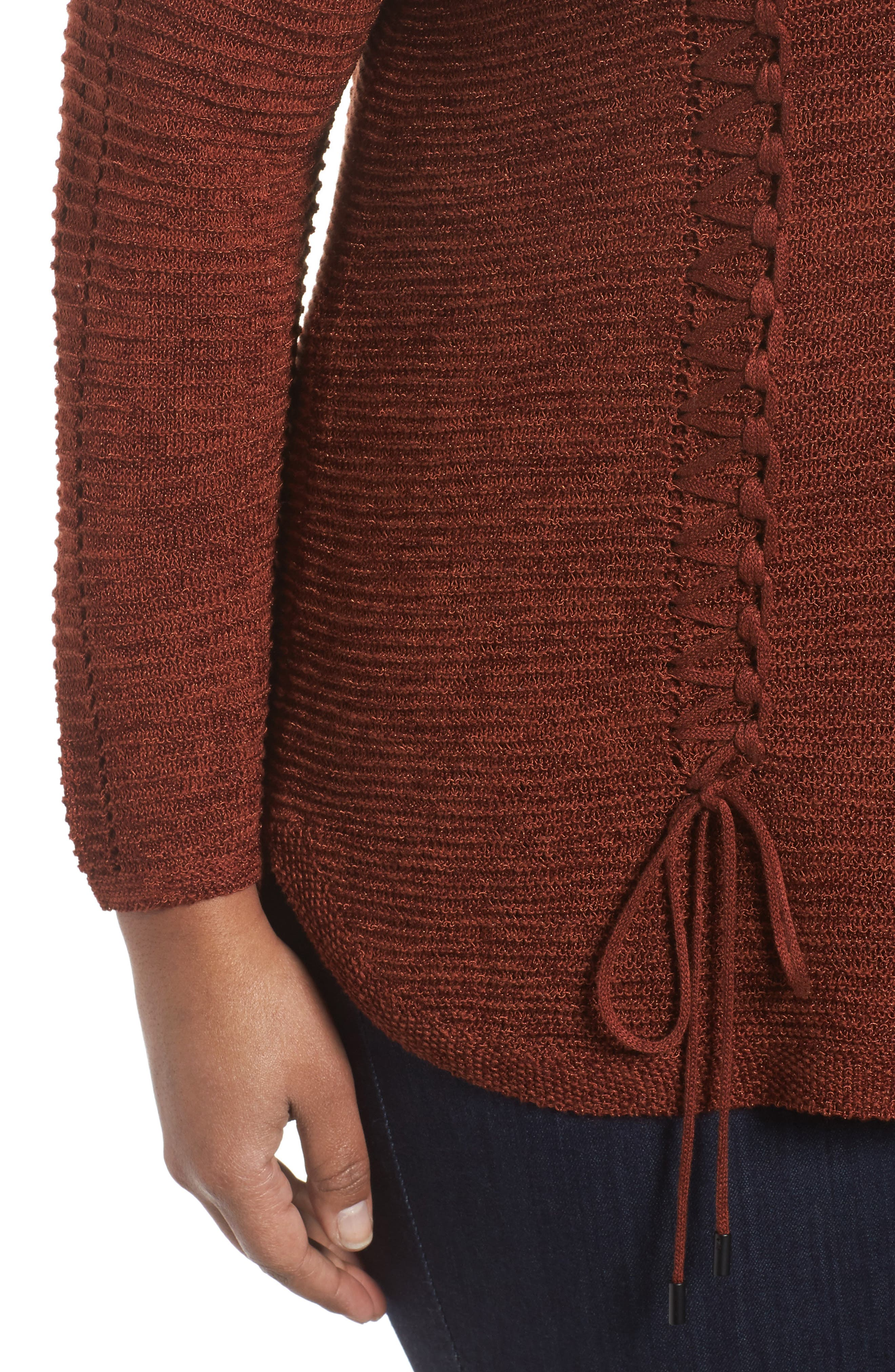 Braided Up Sweater,                             Alternate thumbnail 4, color,                             BRANDY