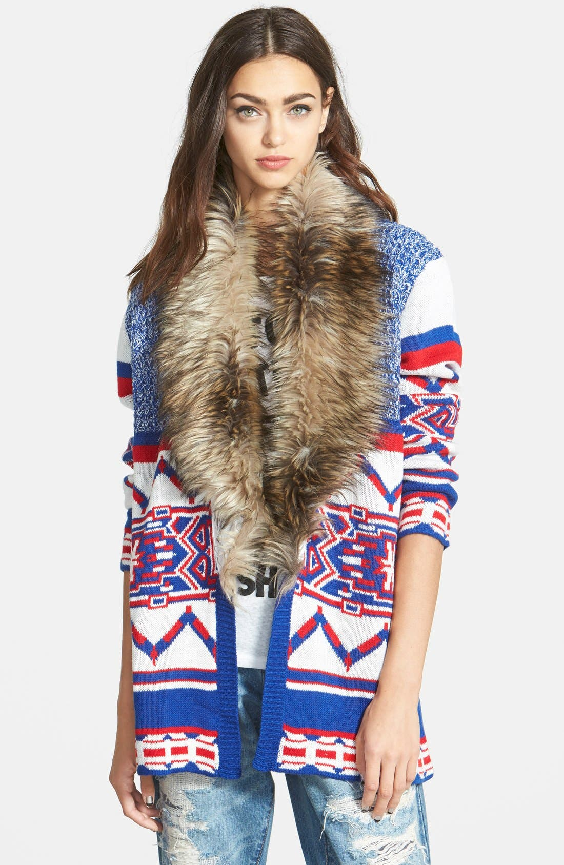 'Legends of the Forest' Cardigan Coat with Faux Fur Collar, Main, color, 400