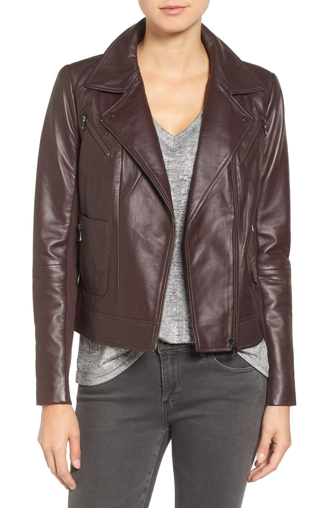 Leather Moto Jacket,                             Main thumbnail 1, color,                             201