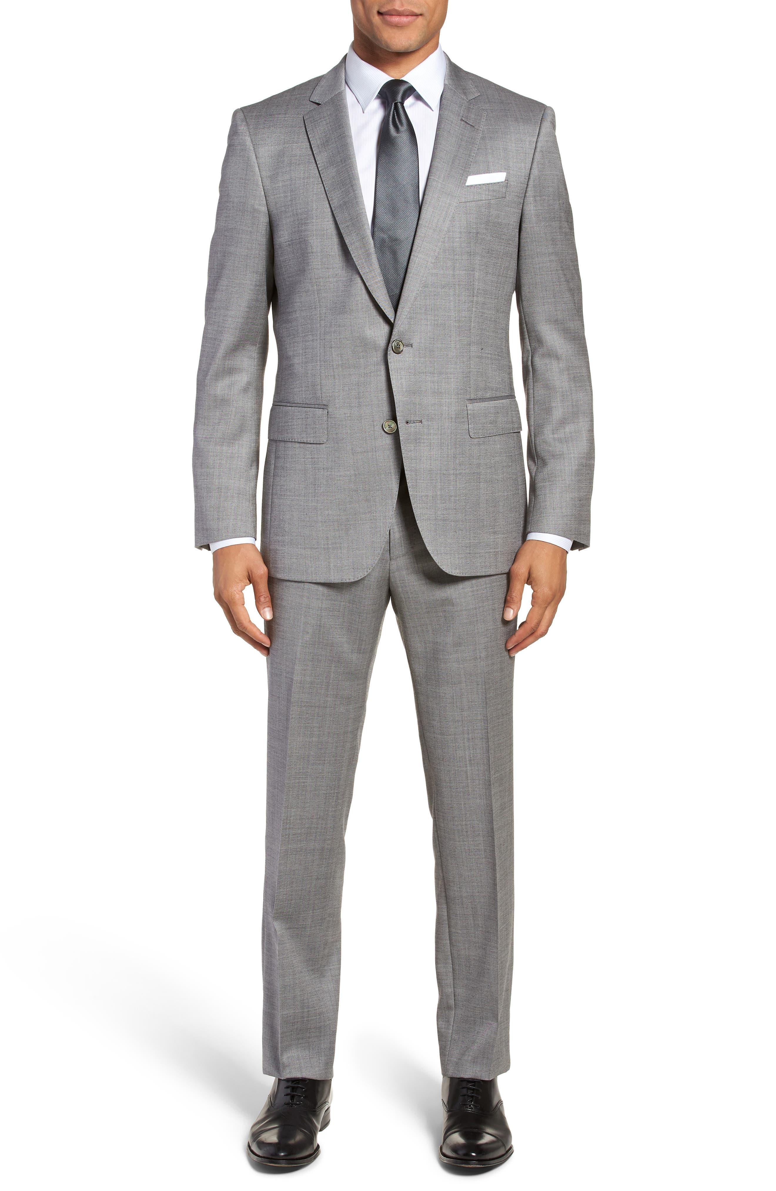 Hutsons/Gander Trim Fit Solid Wool & Silk Suit,                         Main,                         color, 020