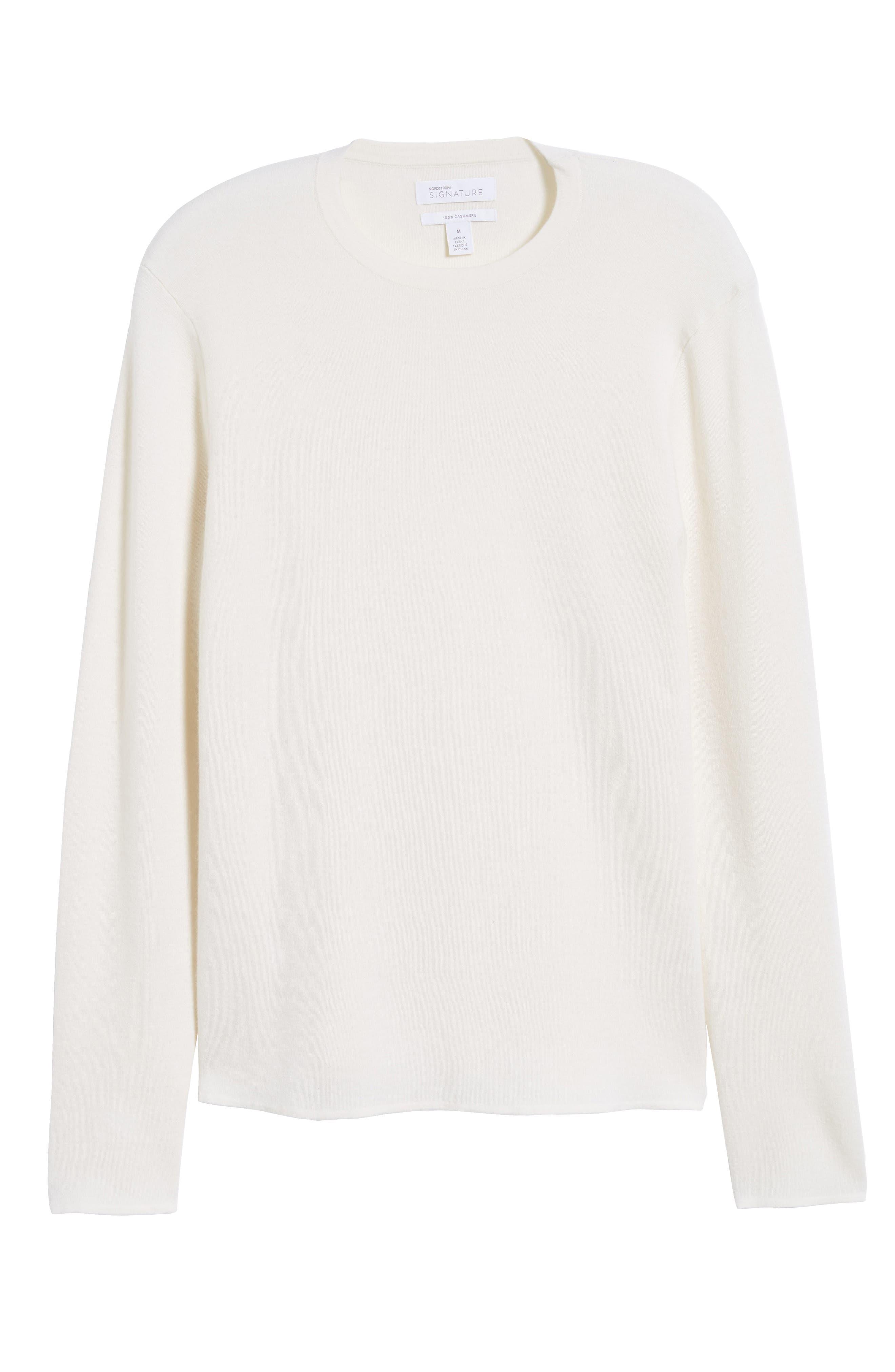 Crewneck Cashmere Sweater,                             Alternate thumbnail 6, color,                             IVORY EGRET