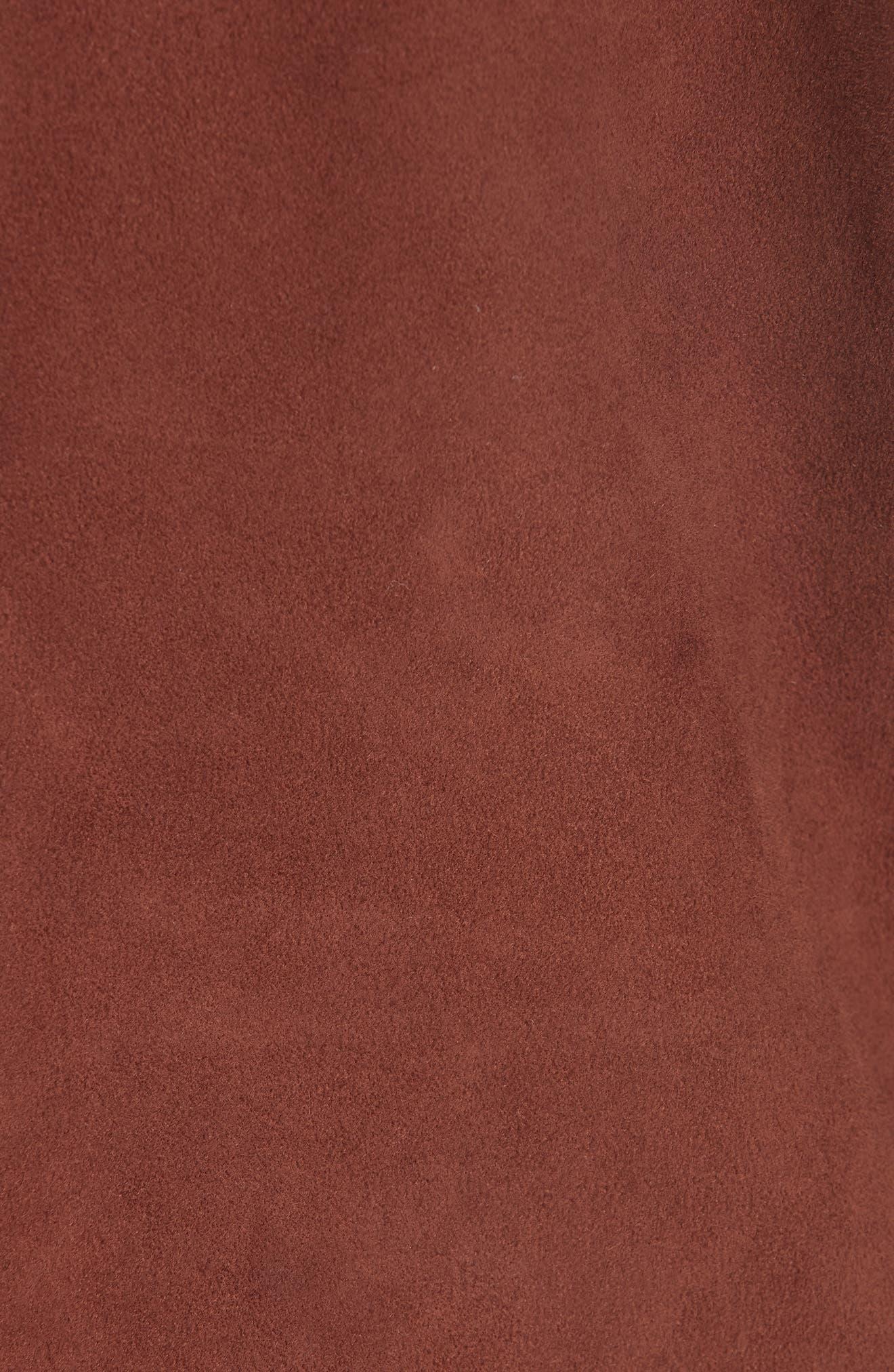 Asymmetrical Zip Suede Jacket,                             Alternate thumbnail 6, color,                             NUTMEG
