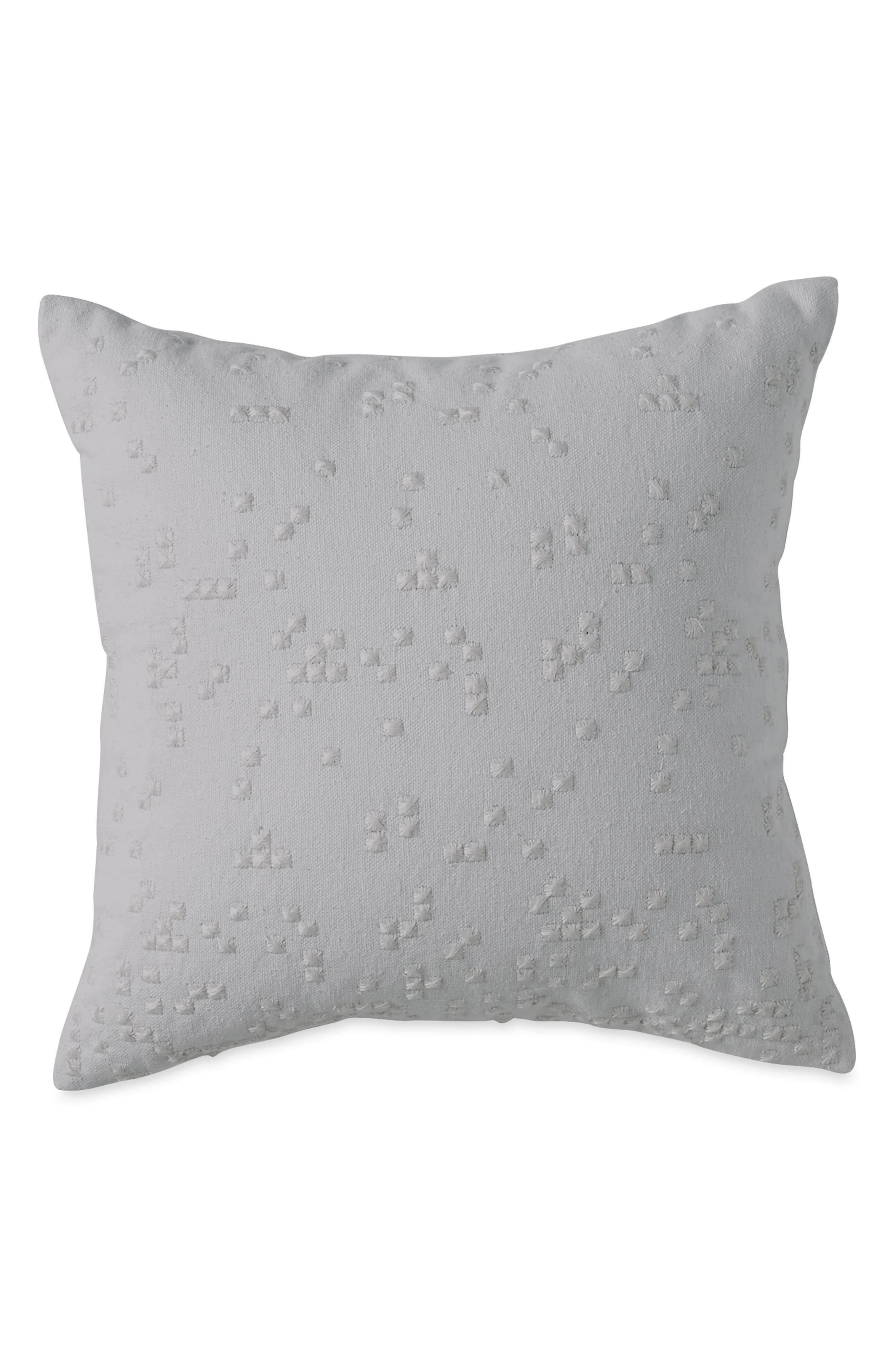 DKNY Embroidered Accent Pillow, Main, color, GREY