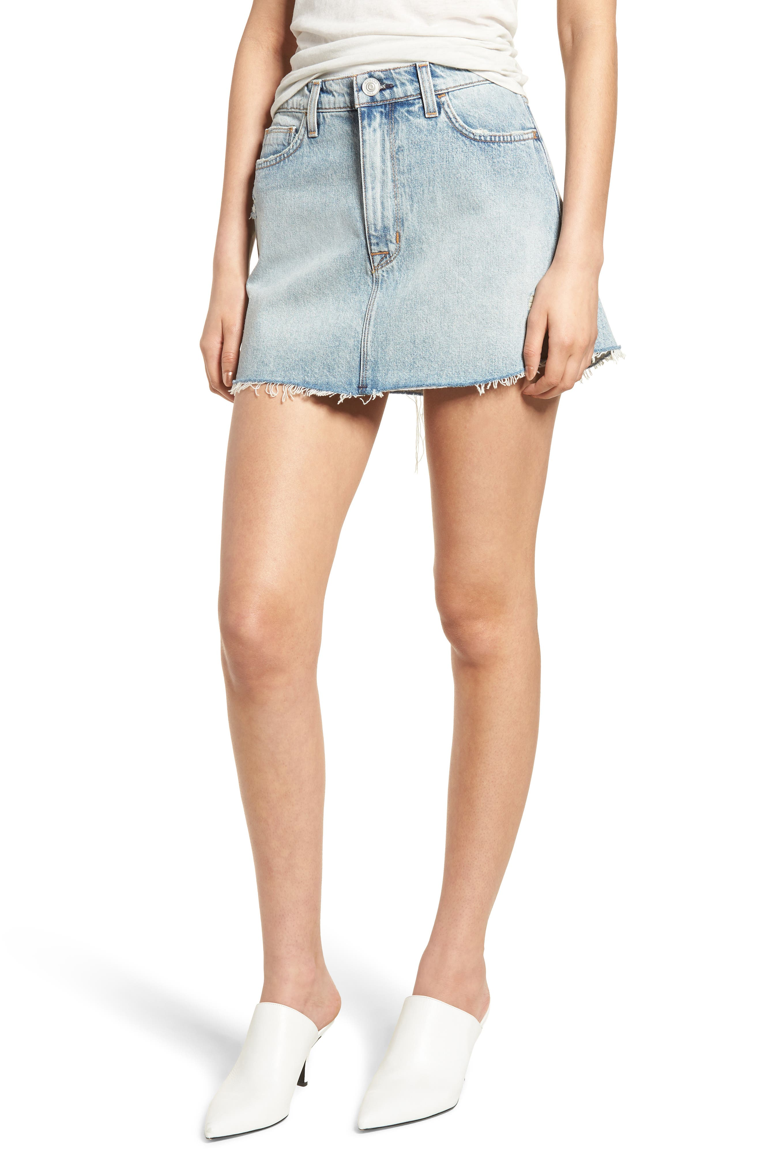 Vivid Cutoff Denim Miniskirt,                             Main thumbnail 1, color,                             453