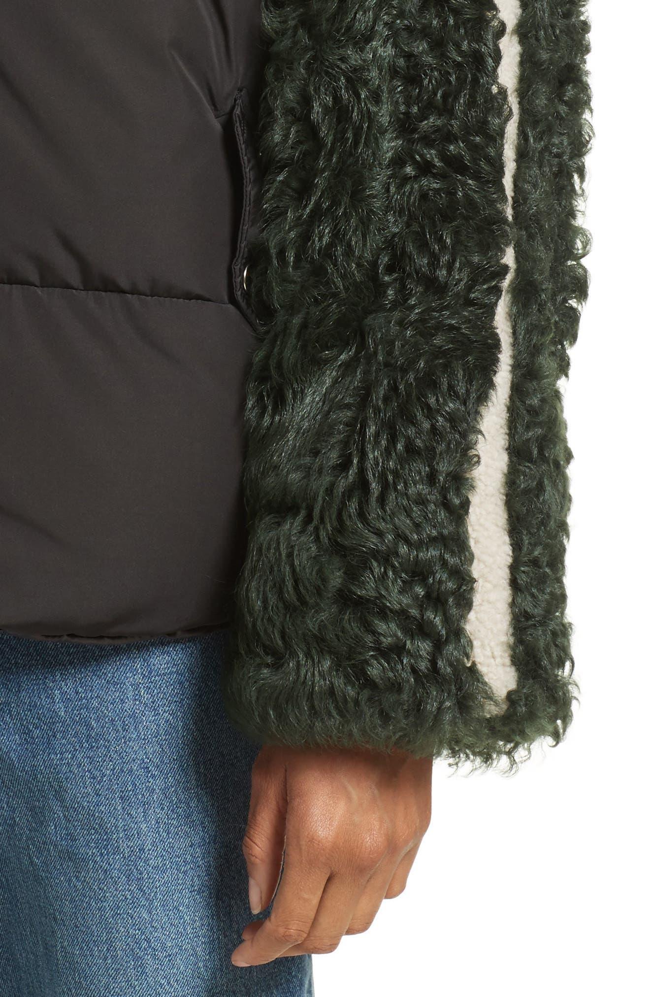 Eldridge Puffer Coat with Genuine Shearling Sleeves,                             Alternate thumbnail 4, color,                             001
