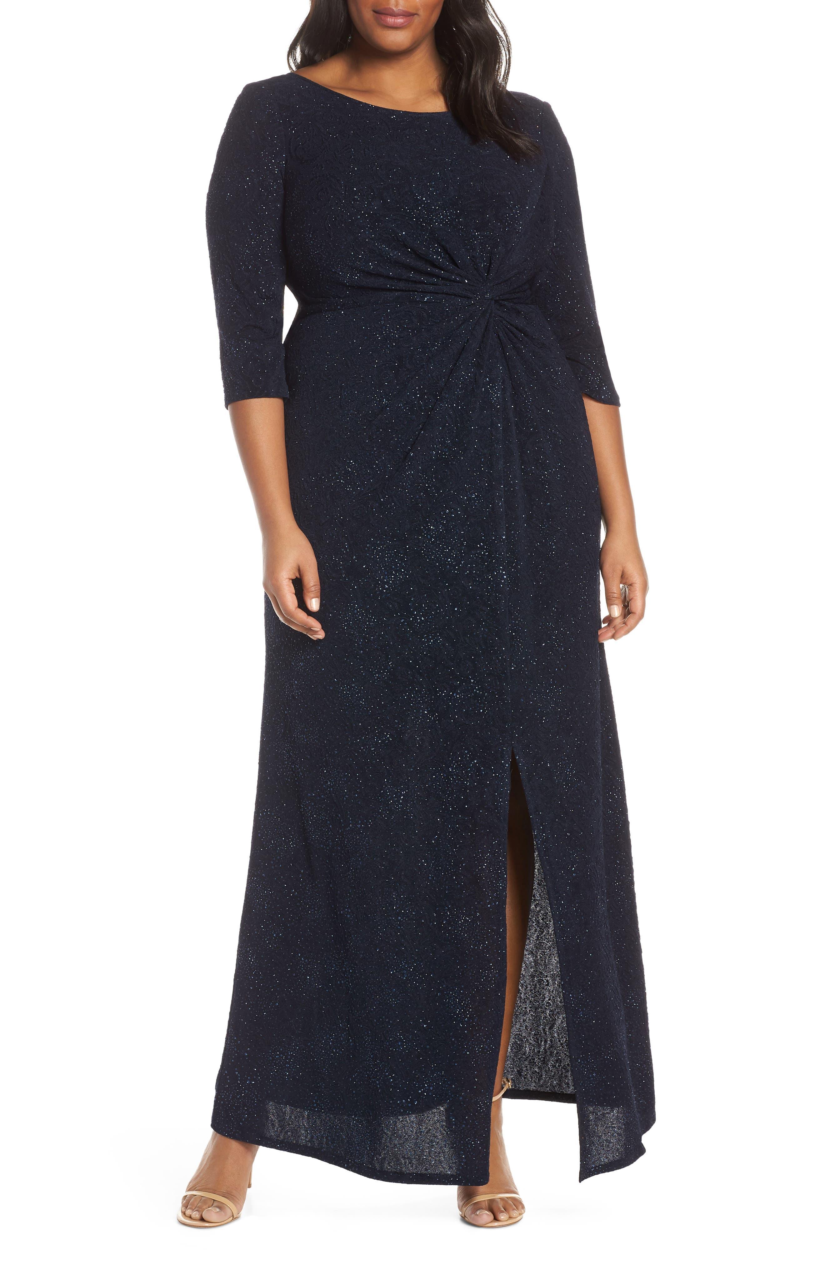 Plus Size Alex Evenings Knot Front Sequin Jacquard Evening Dress, Blue