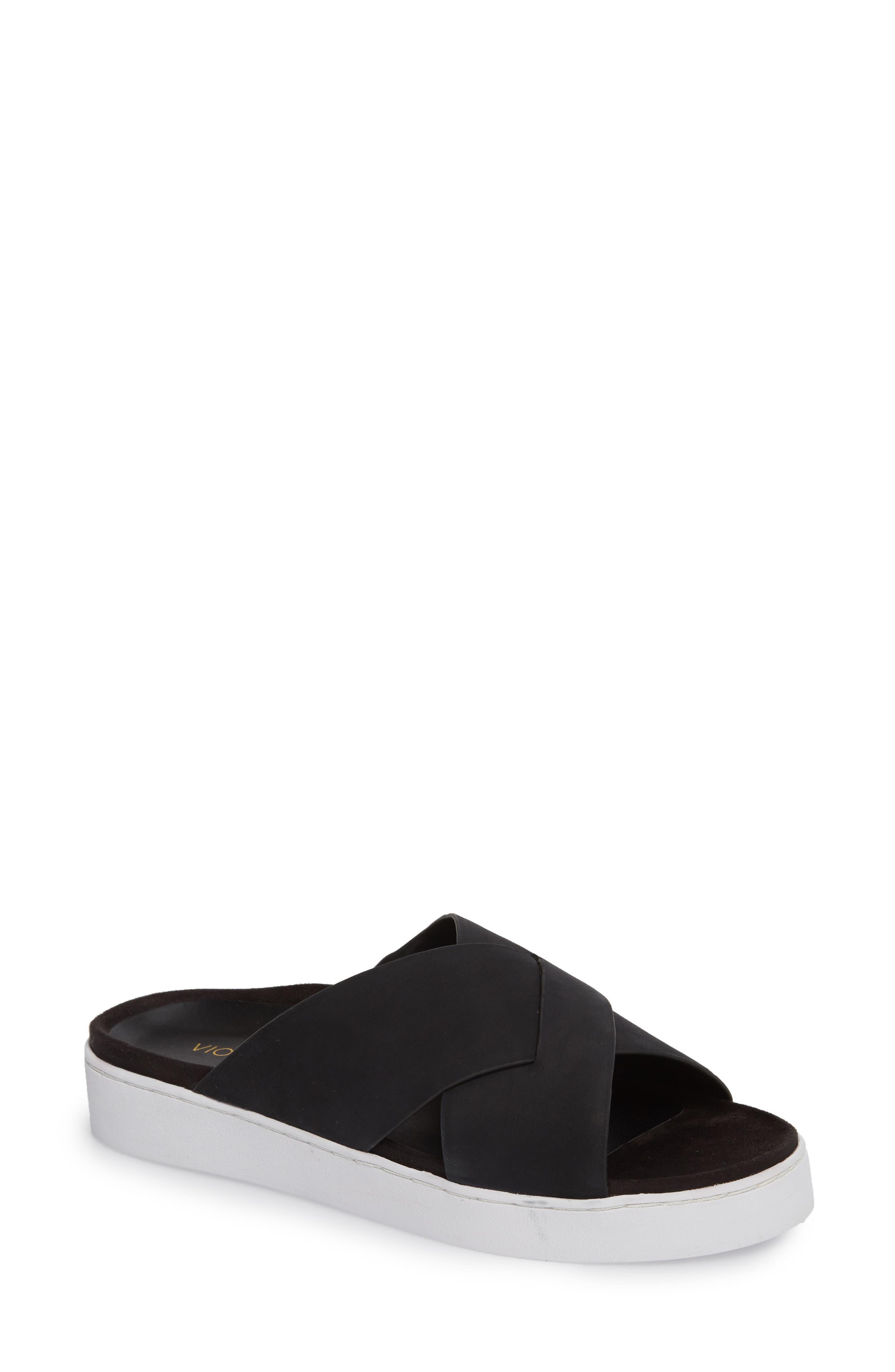 Lou Slide Sandal,                             Main thumbnail 1, color,                             BLACK NUBUCK