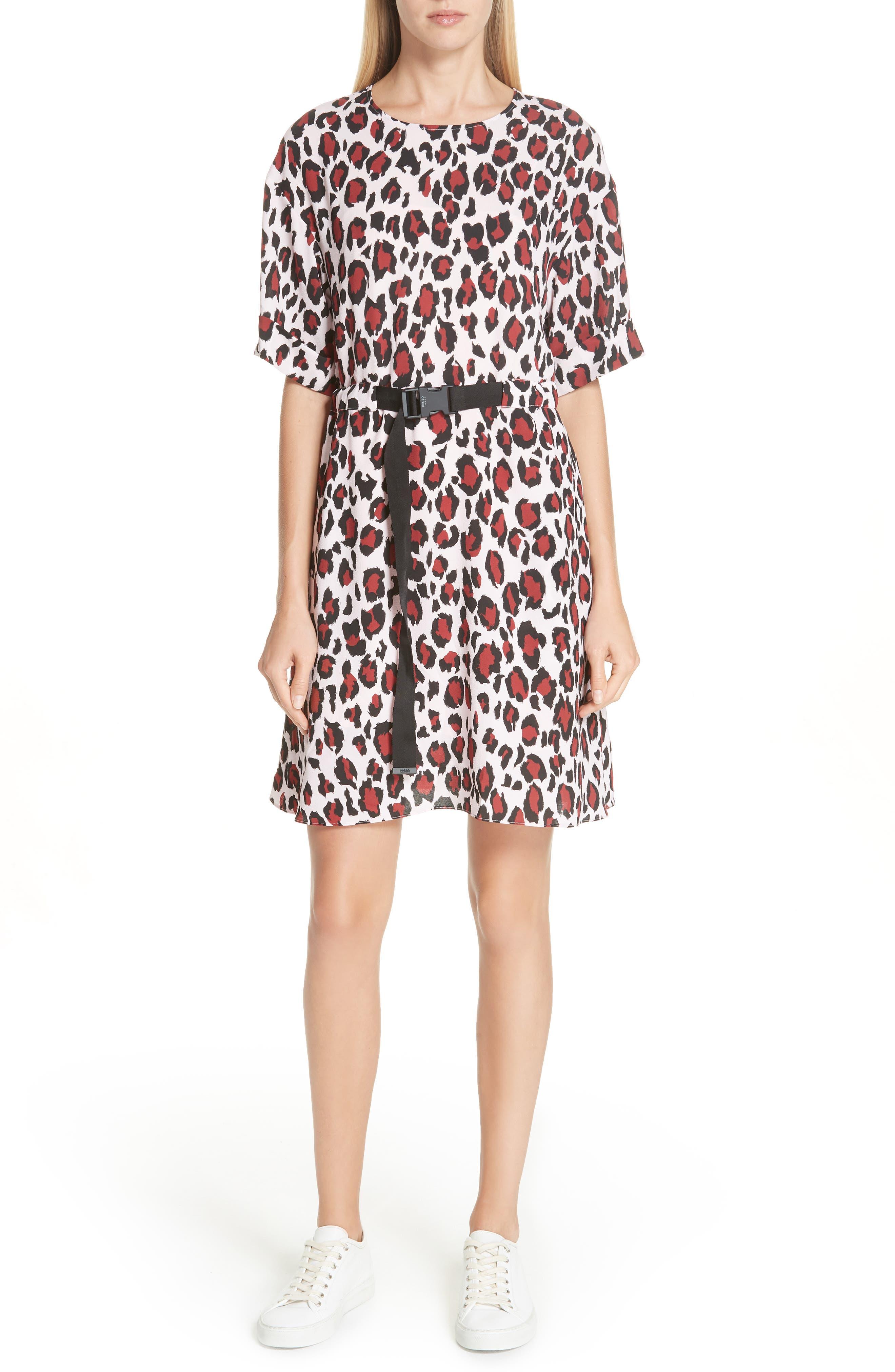 Animal Print Belted Dress,                         Main,                         color, PINK