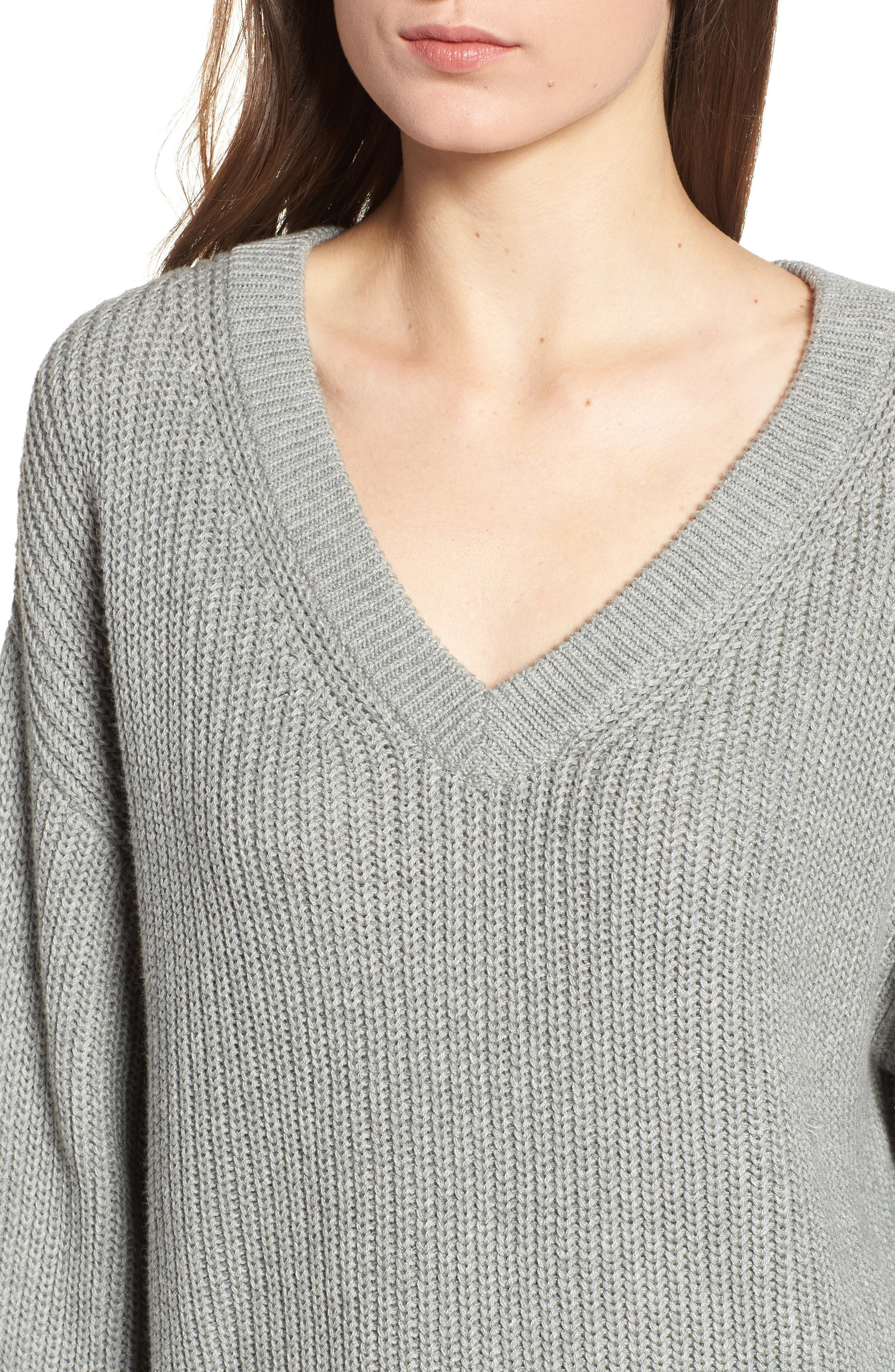 V Neck Cotton Sweater,                             Alternate thumbnail 4, color,                             030