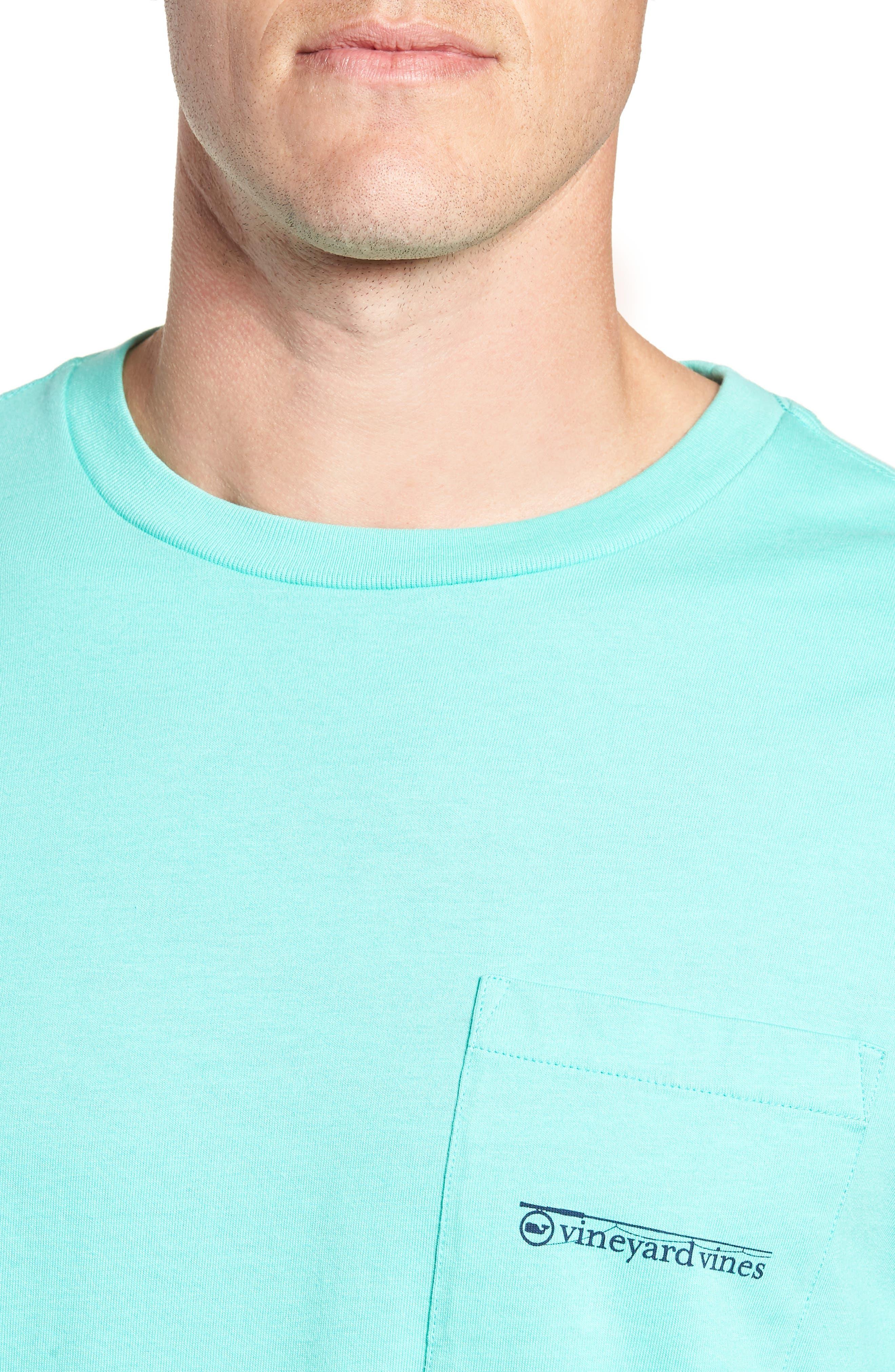 Fishing Rod Pocket T-Shirt,                             Alternate thumbnail 4, color,                             CAPRI BLUE