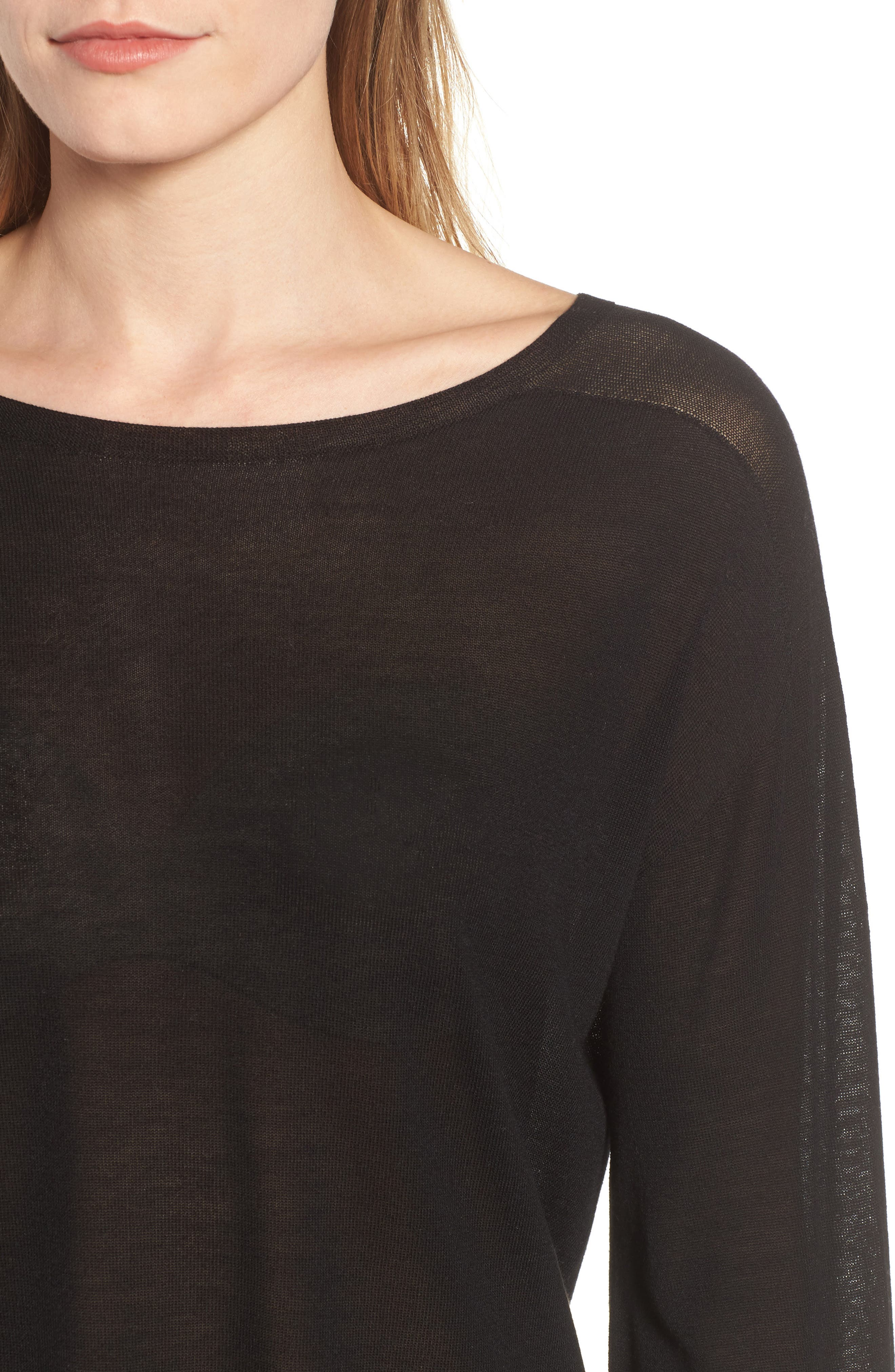 Tencel<sup>®</sup> Lyocell Knit Sweater,                             Alternate thumbnail 4, color,                             001