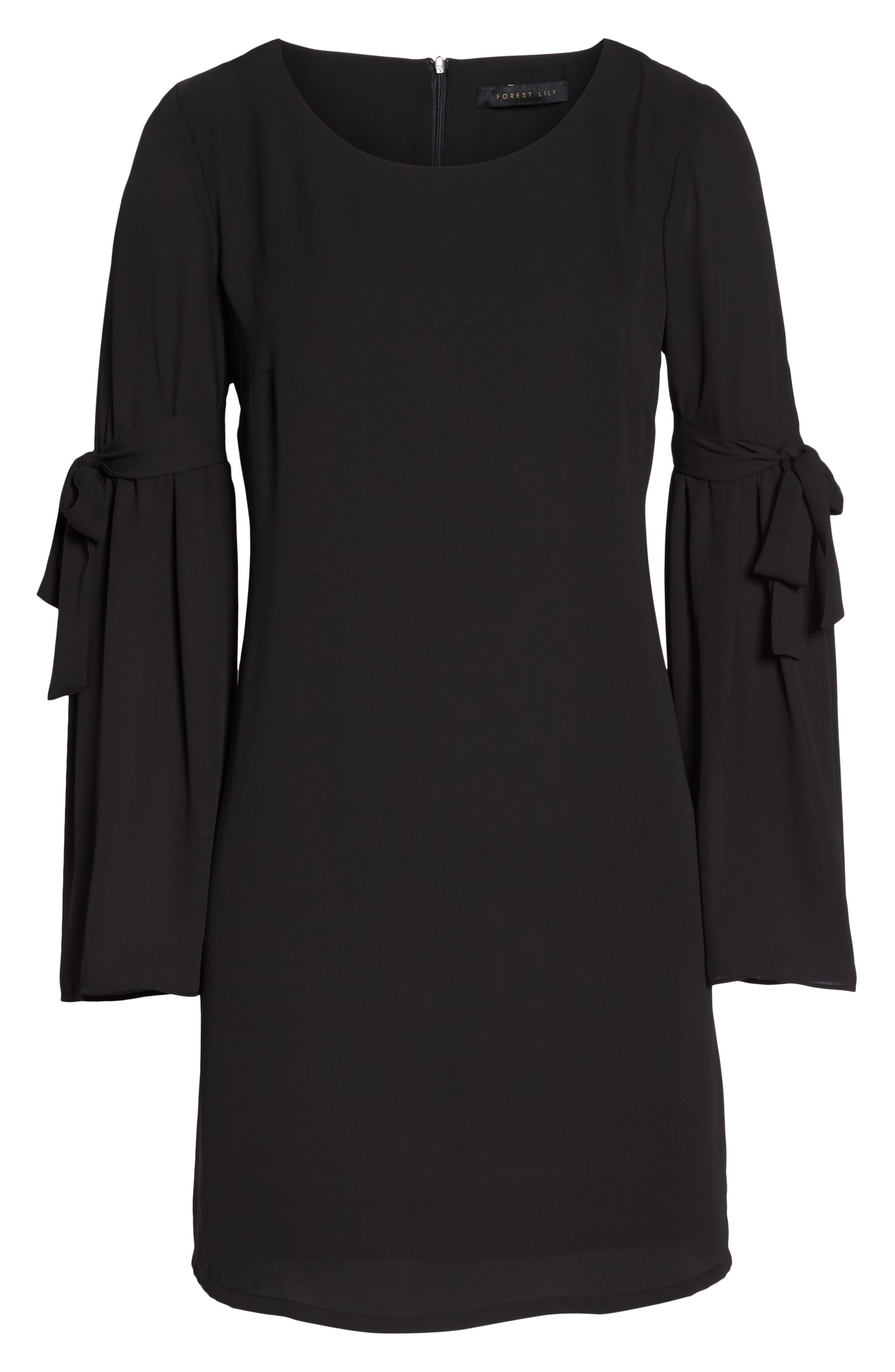 Bell Sleeve Dress,                             Alternate thumbnail 7, color,                             BLACK