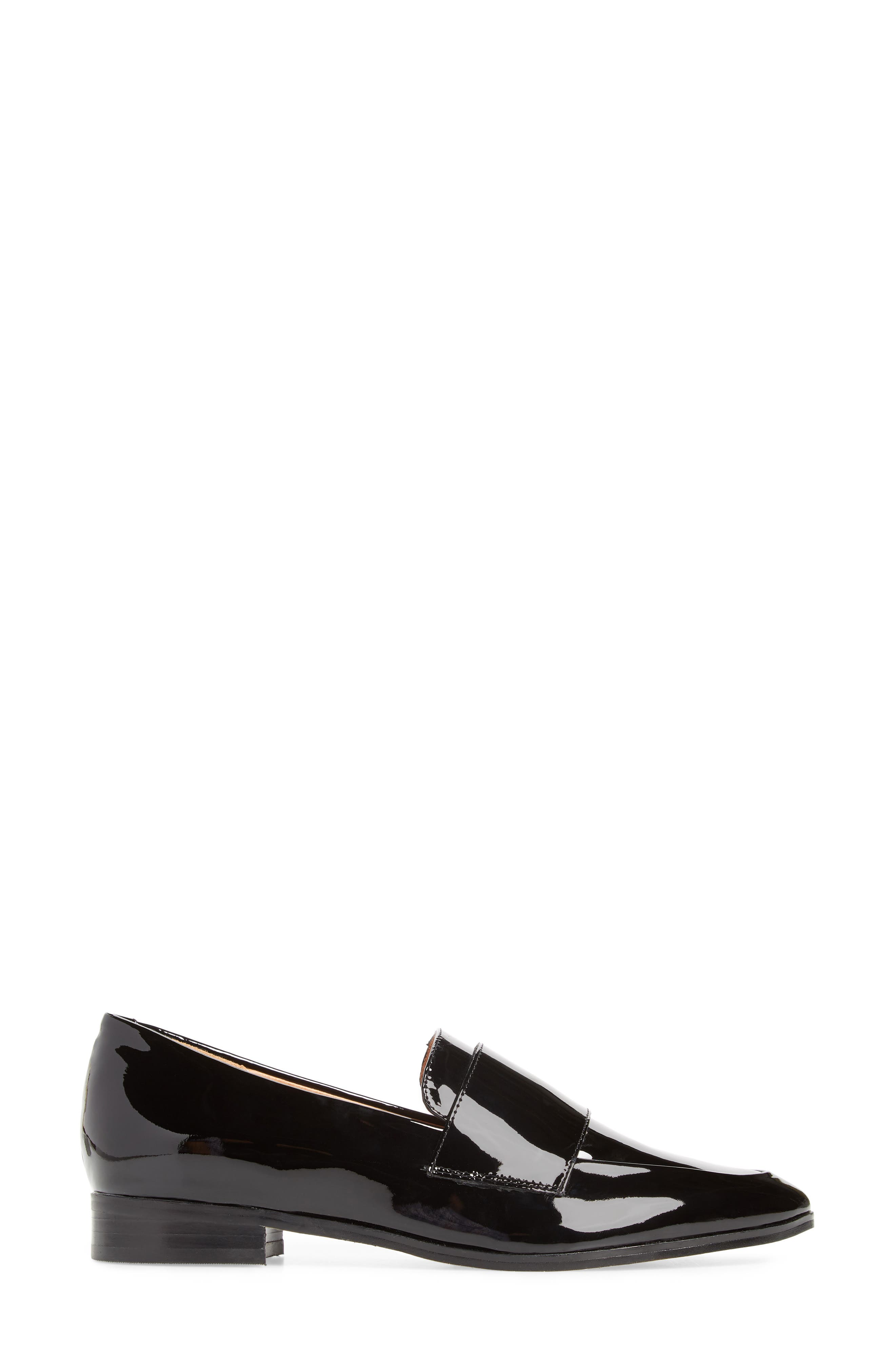 Emilia Loafer,                             Alternate thumbnail 3, color,                             BLACK PATENT LEATHER