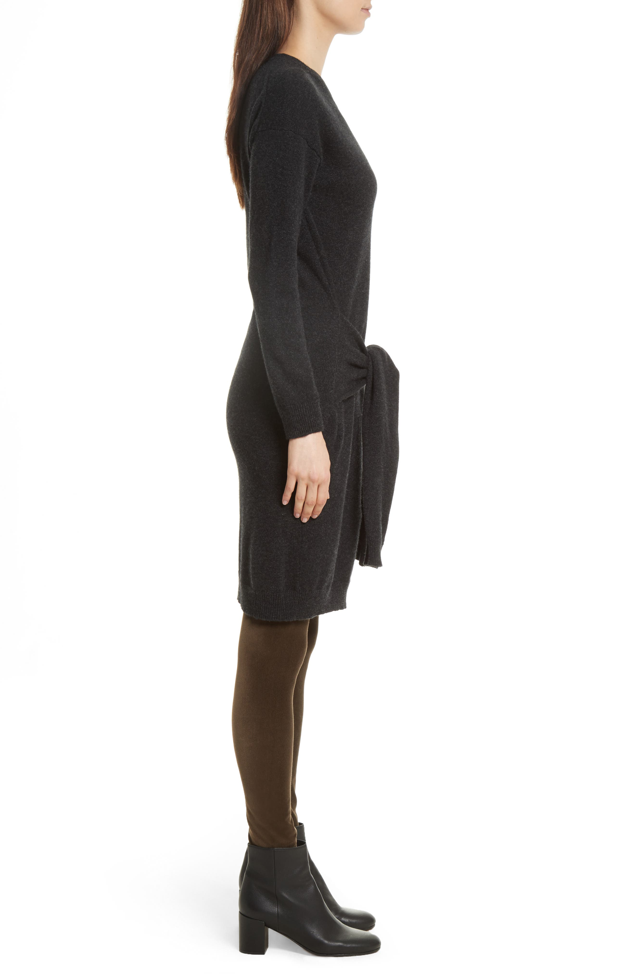 Long Sleeve Tie Waist Sweater Dress,                             Alternate thumbnail 3, color,                             064