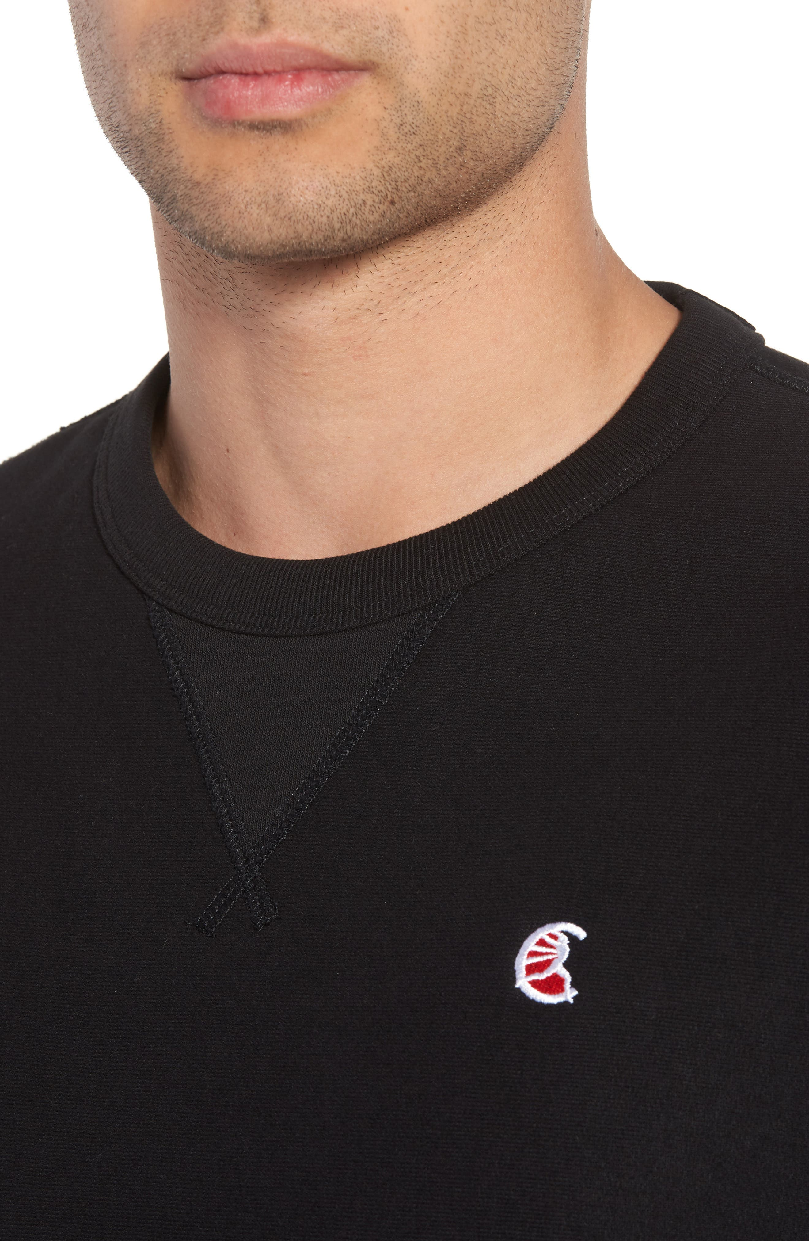 + Champion Graphic Sleeve Sweatshirt,                             Alternate thumbnail 4, color,                             001