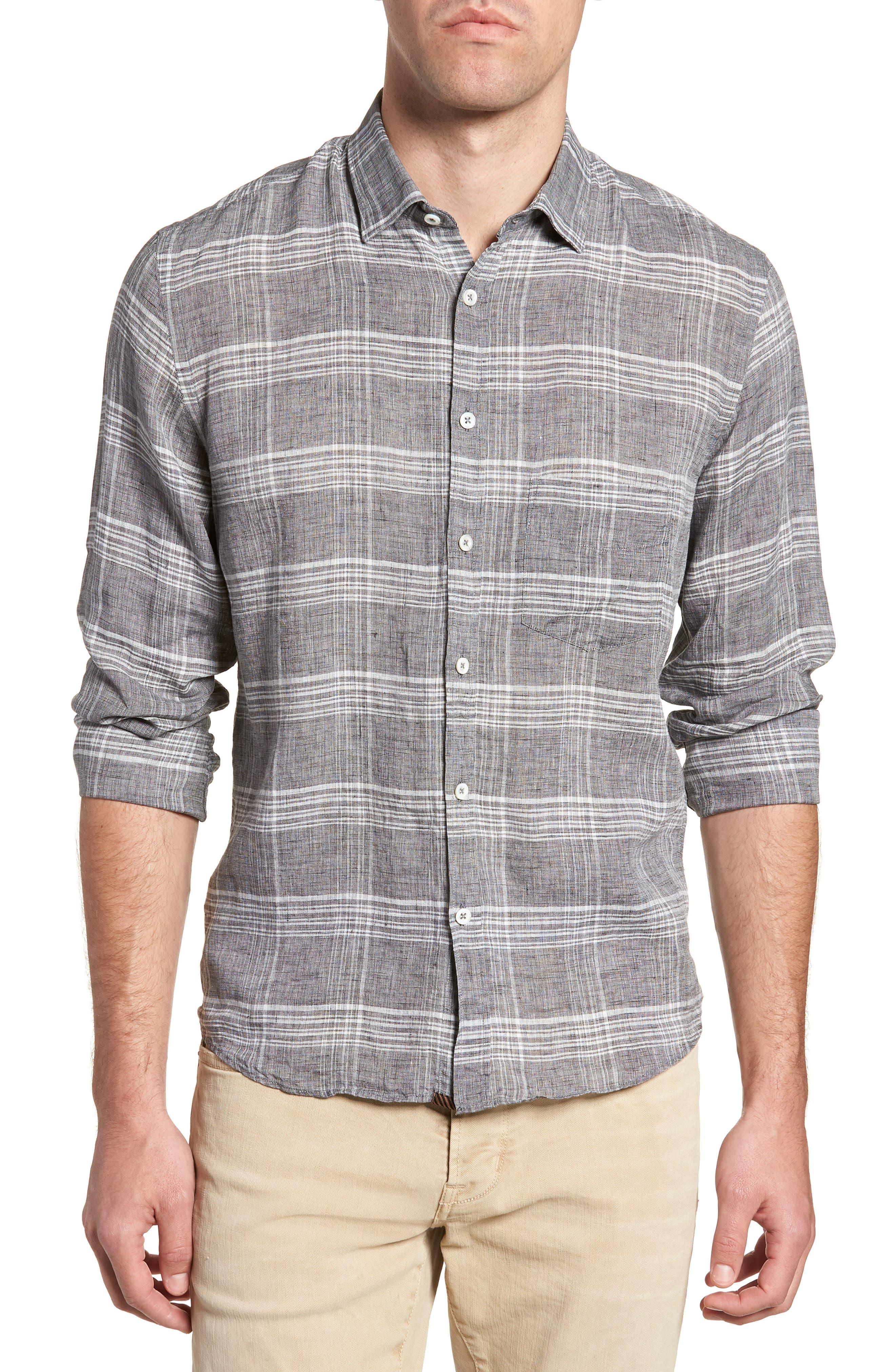 John Standard Fit Plaid Linen Sport Shirt,                         Main,                         color, 061