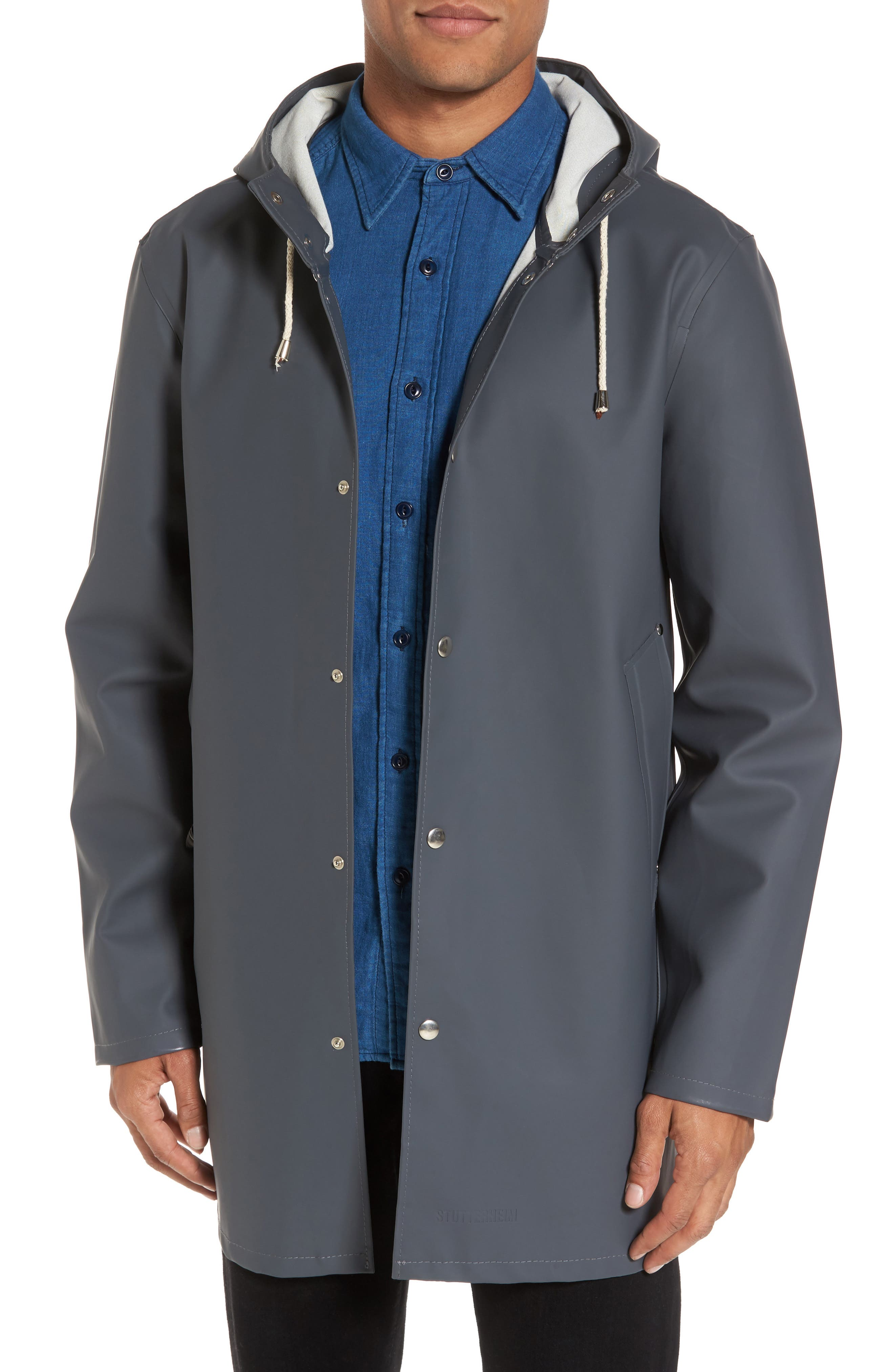 Stockholm Waterproof Hooded Raincoat,                             Main thumbnail 1, color,                             CHARCOAL