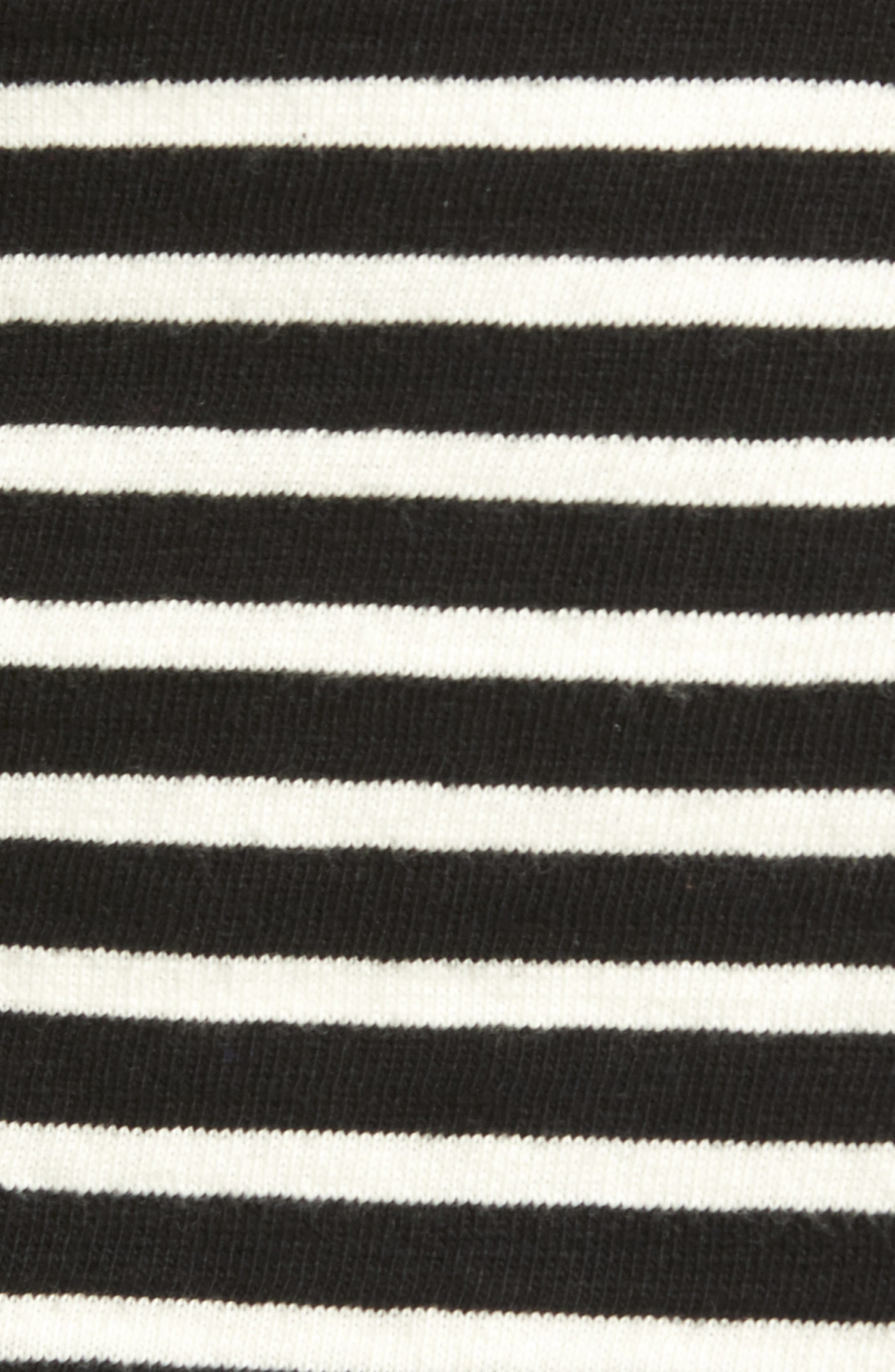 CASLON<SUP>®</SUP>,                             Knit One-Button Blazer,                             Alternate thumbnail 6, color,                             BLACK- IVORY STRIPE