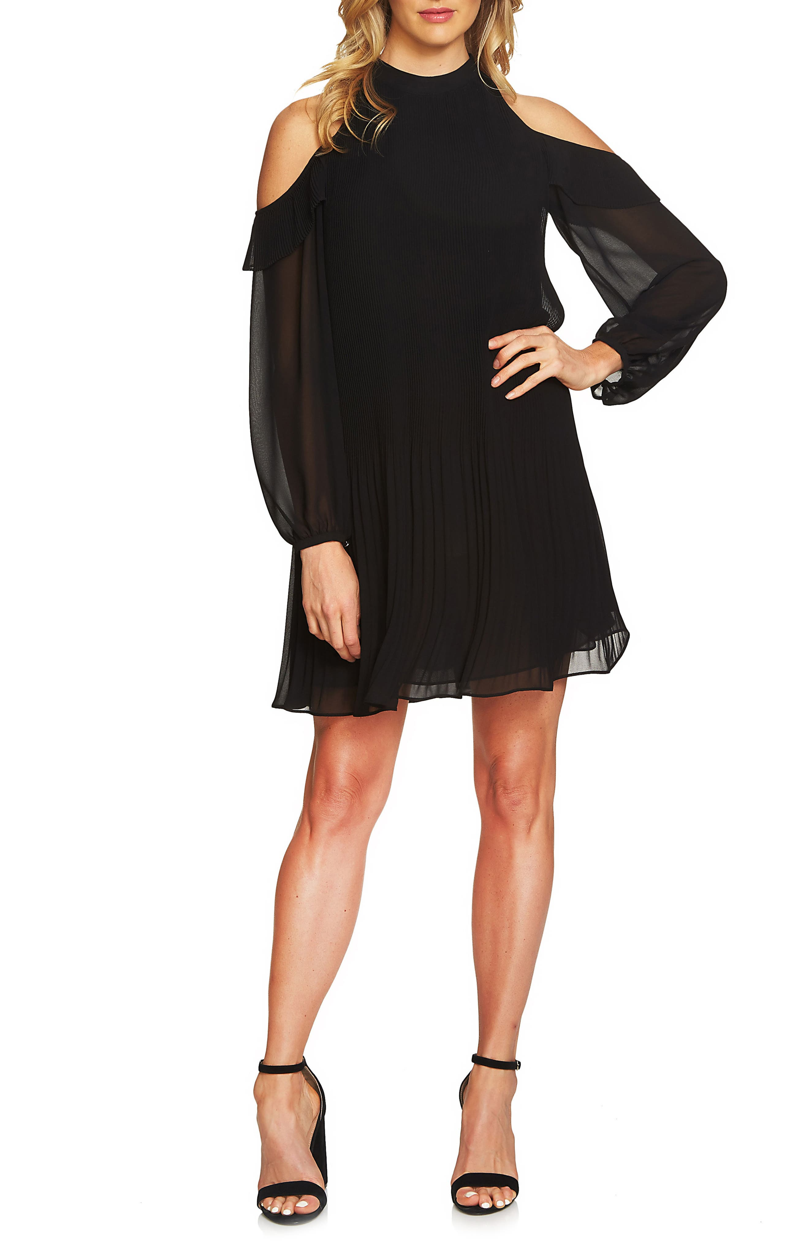 Noelle Cold Shoulder Chiffon Trapeze Dress,                             Main thumbnail 1, color,                             010