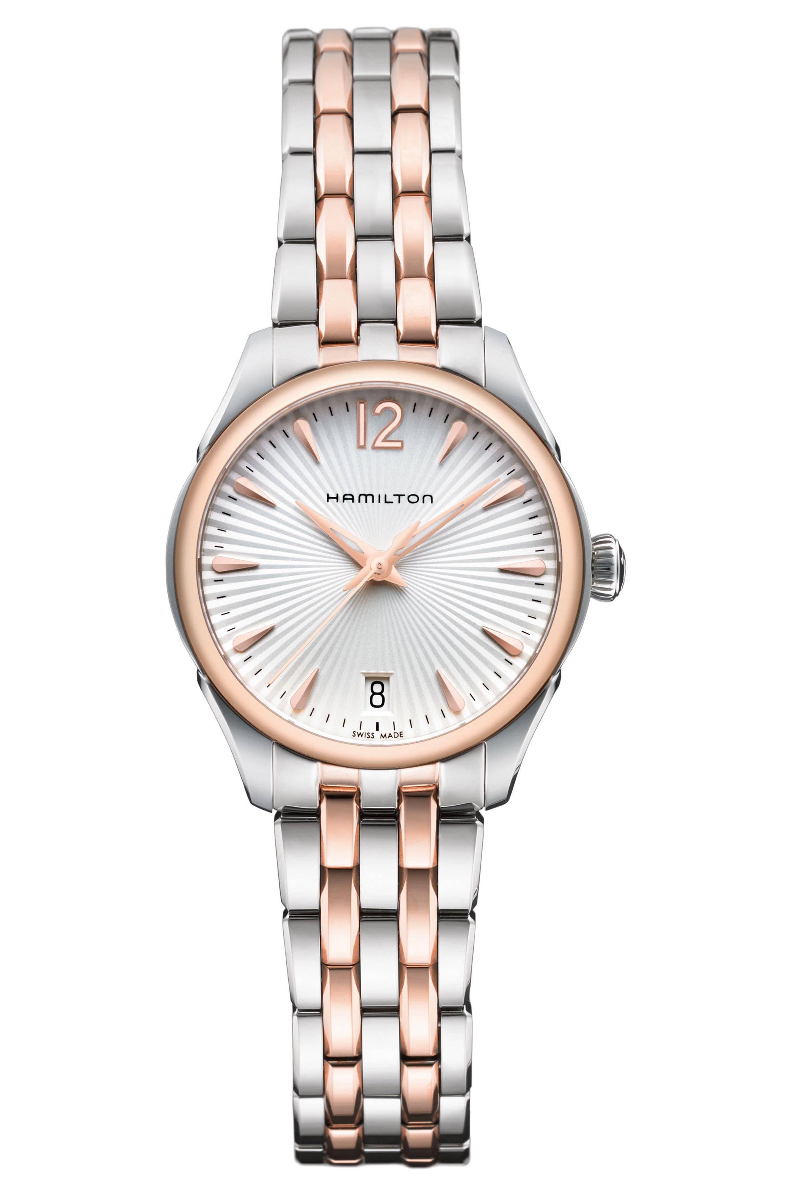 HAMILTON Jazzmaster Lady Bracelet Watch, 30mm, Main, color, SILVER/ ROSE GOLD