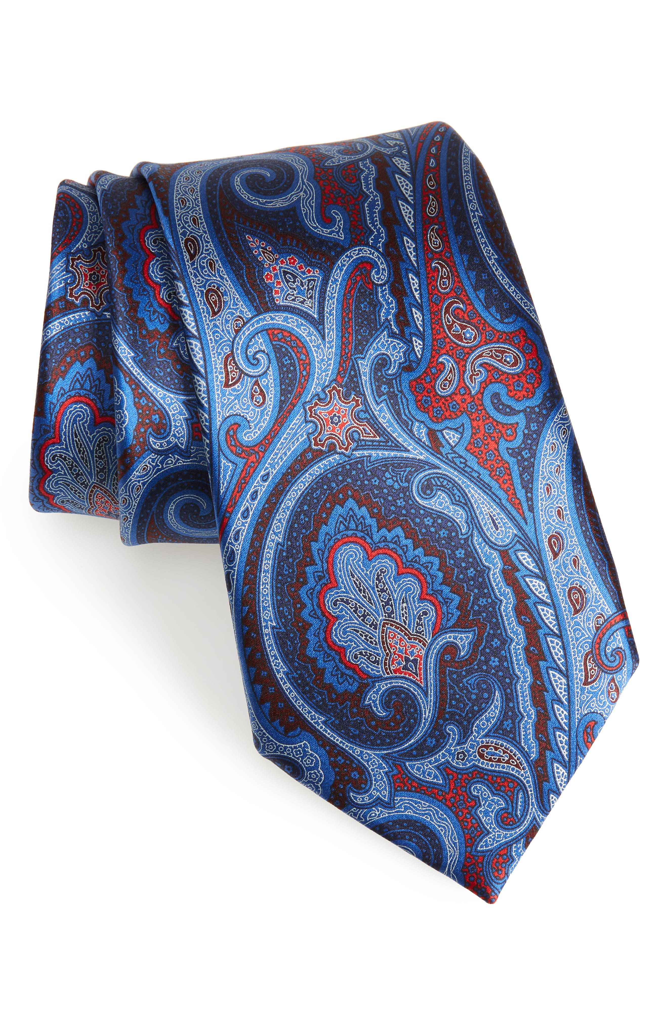 ERMENEGILDO ZEGNA,                             Paisley Silk Tie,                             Main thumbnail 1, color,                             428