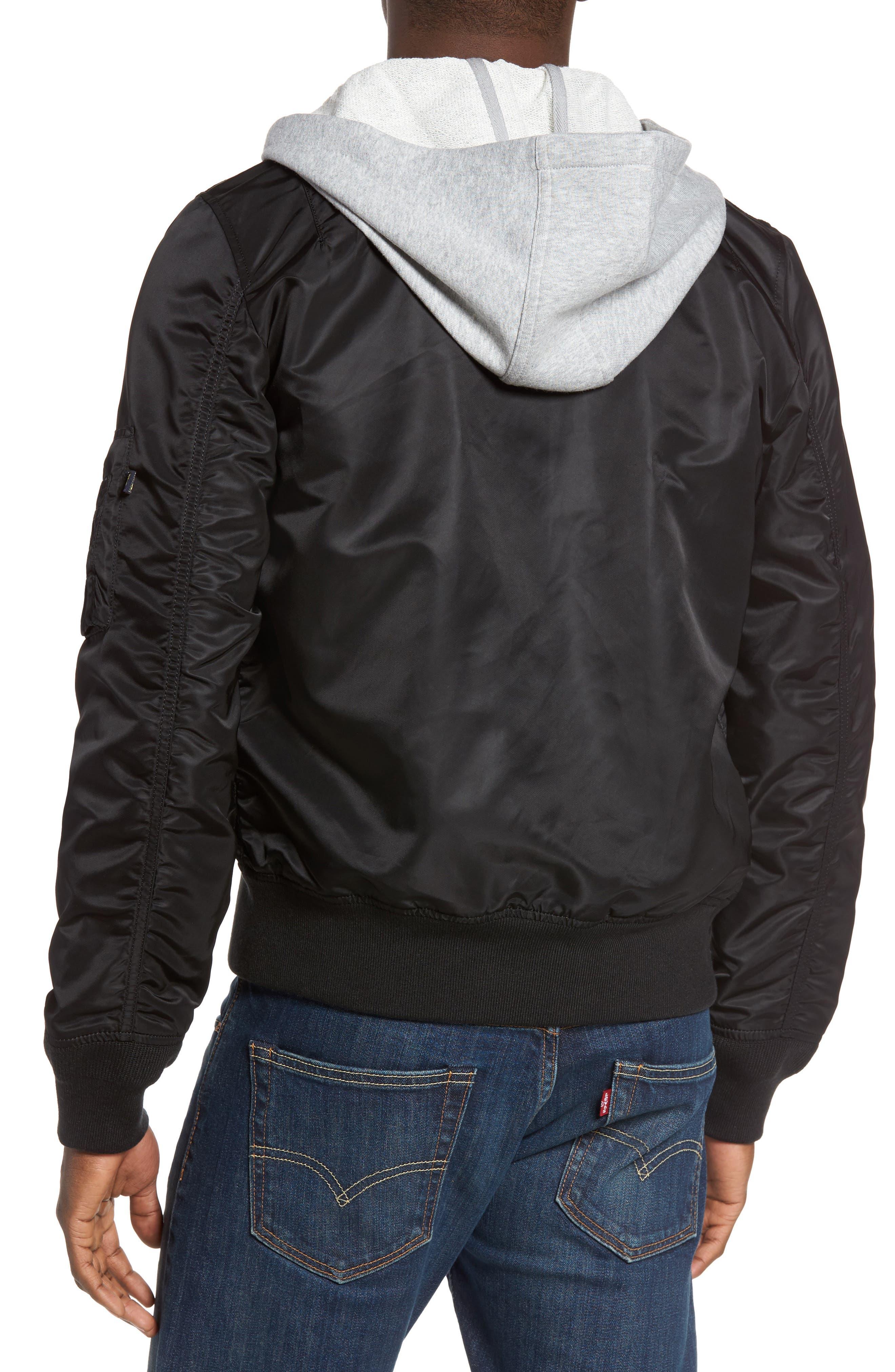 Lightweight L2-B Flight Jacket with Knit Hood,                             Alternate thumbnail 5, color,