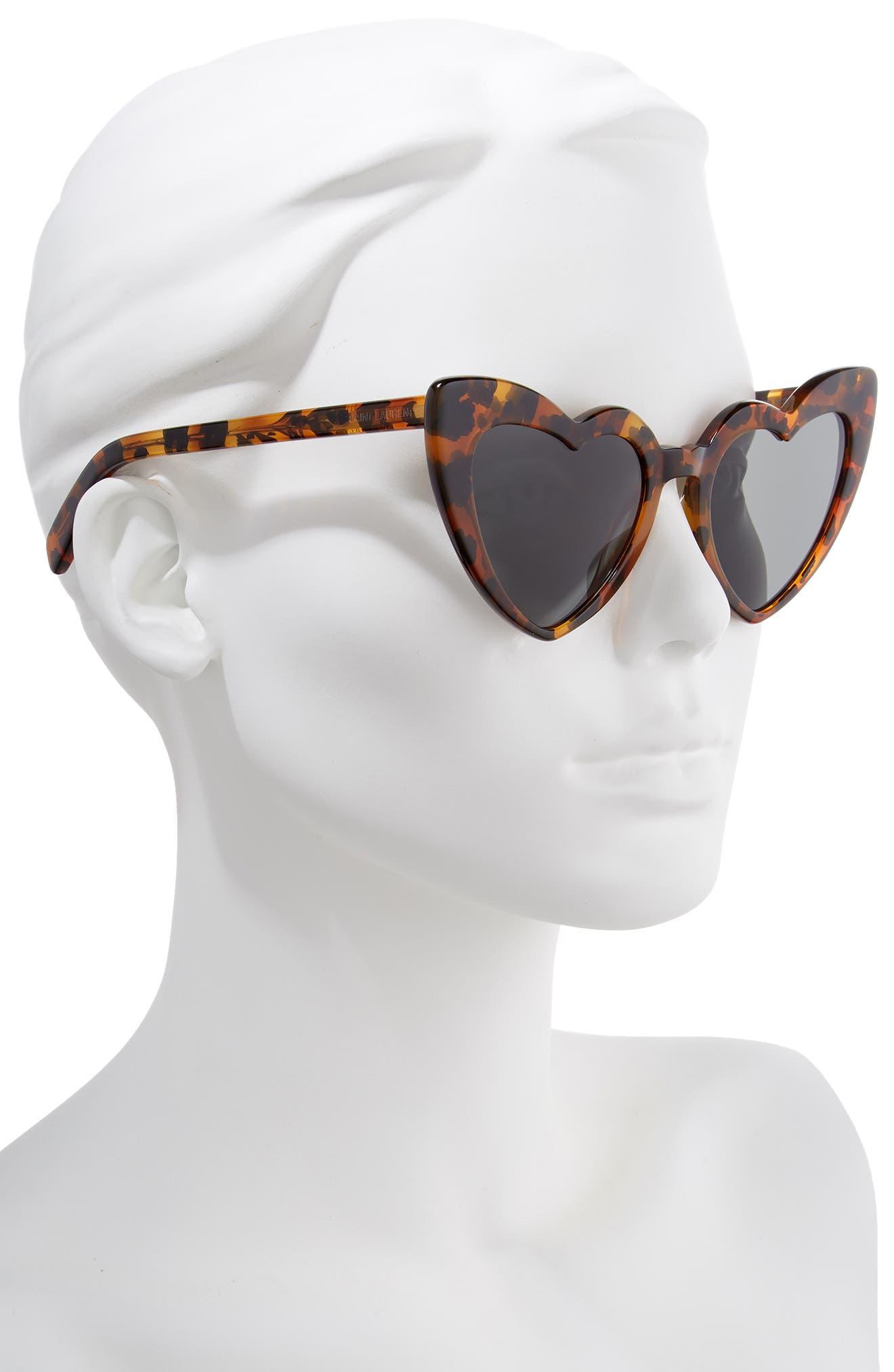 SAINT LAURENT,                             Loulou 54mm Heart Sunglasses,                             Alternate thumbnail 2, color,                             LEOPARD HAVANA/ GREY