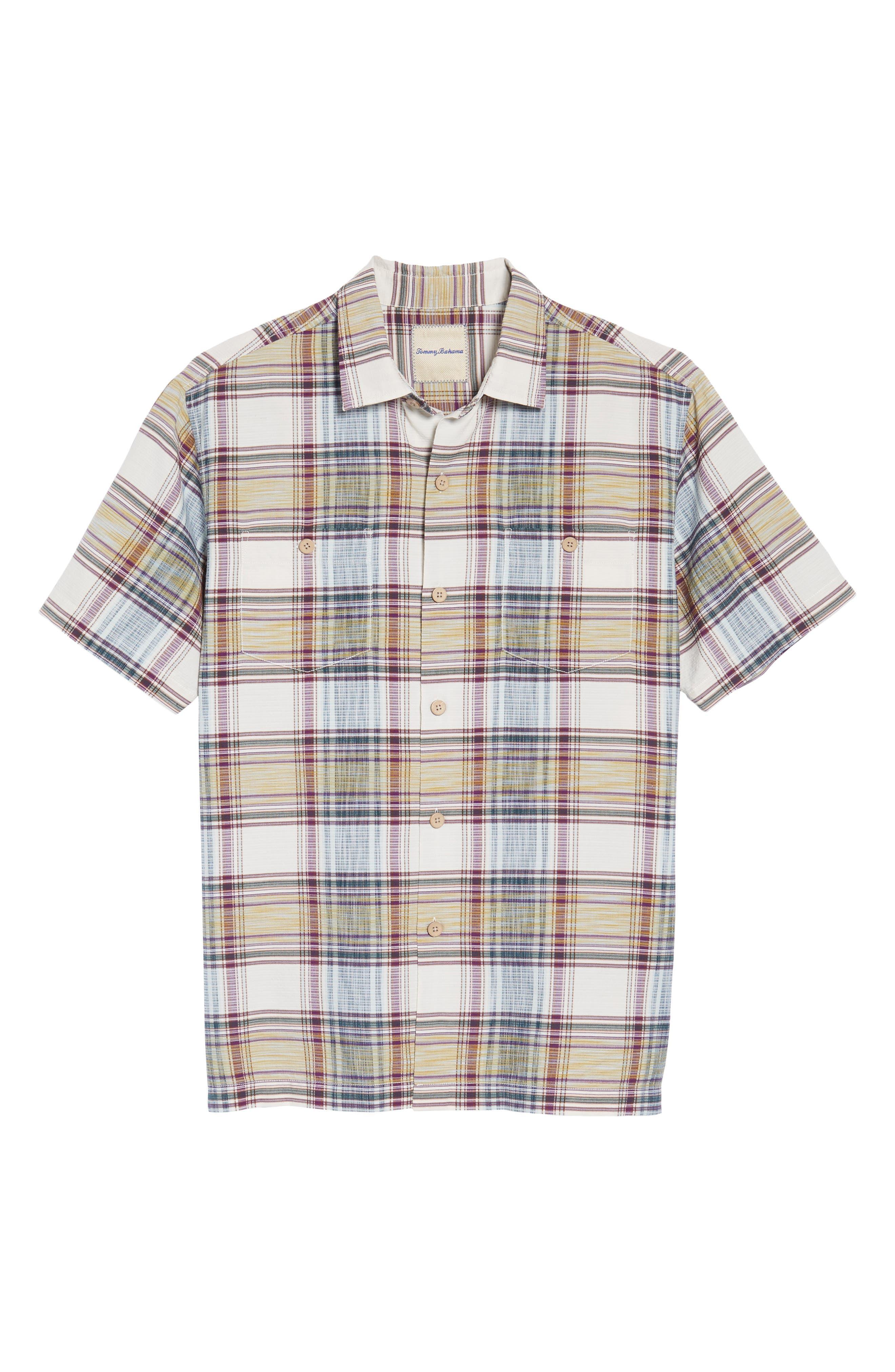Lazlo Plaid Standard Fit Silk & Cotton Camp Shirt,                             Alternate thumbnail 6, color,                             100