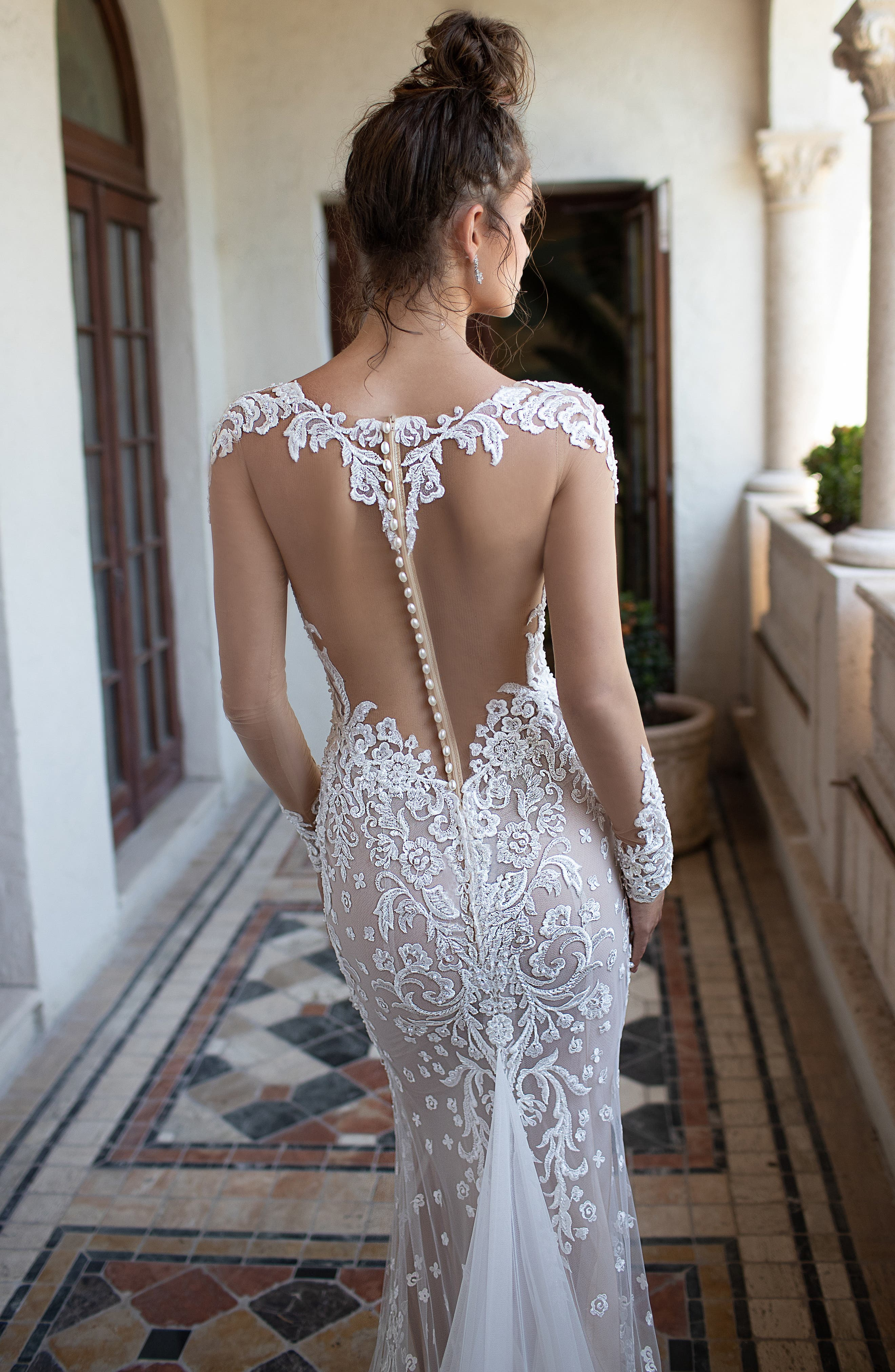 Illusion Sleeve Embroidered Trumpet Gown,                             Alternate thumbnail 3, color,                             IVORY