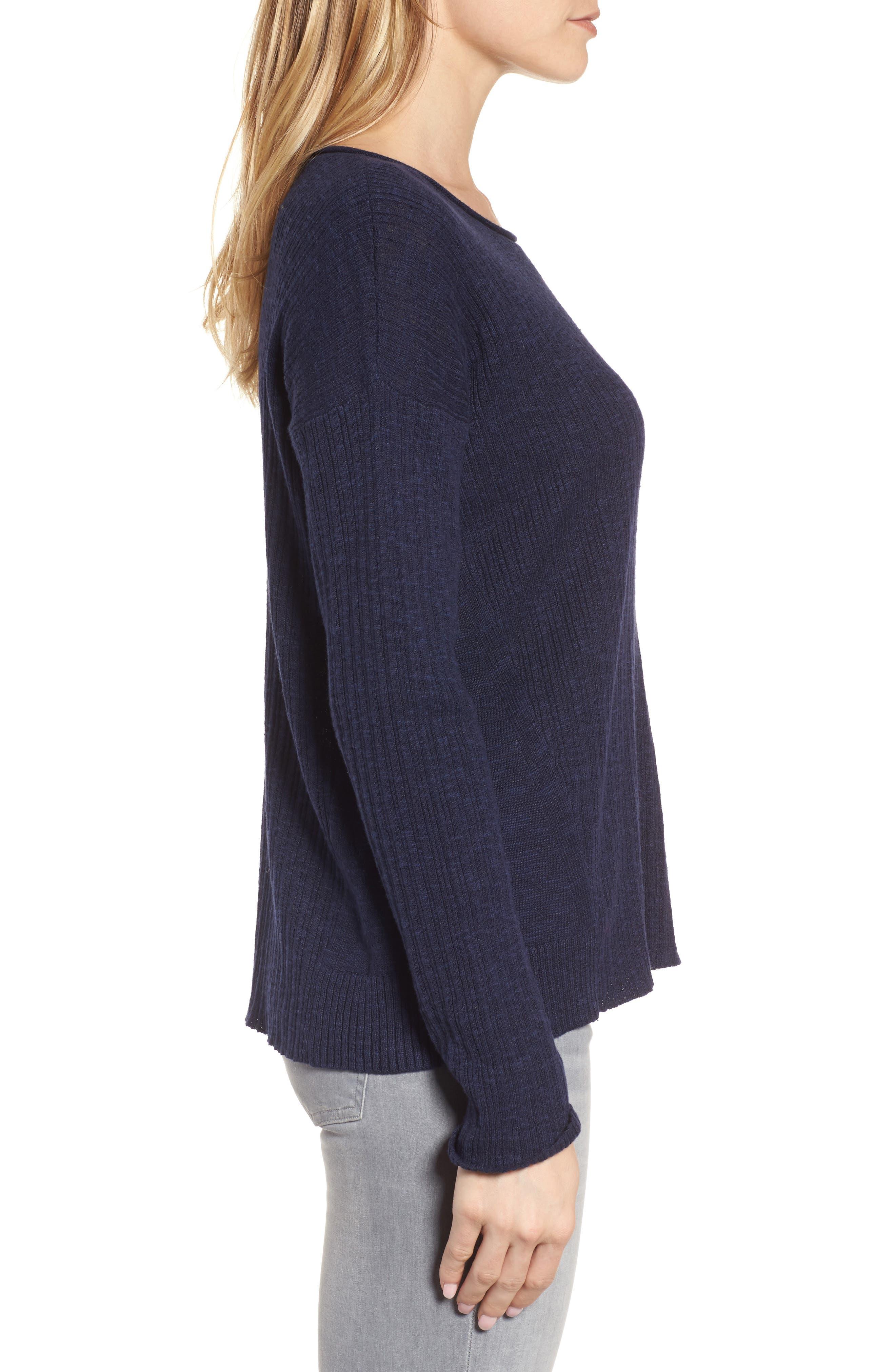 Organic Linen & Cotton Crewneck Sweater,                             Alternate thumbnail 15, color,