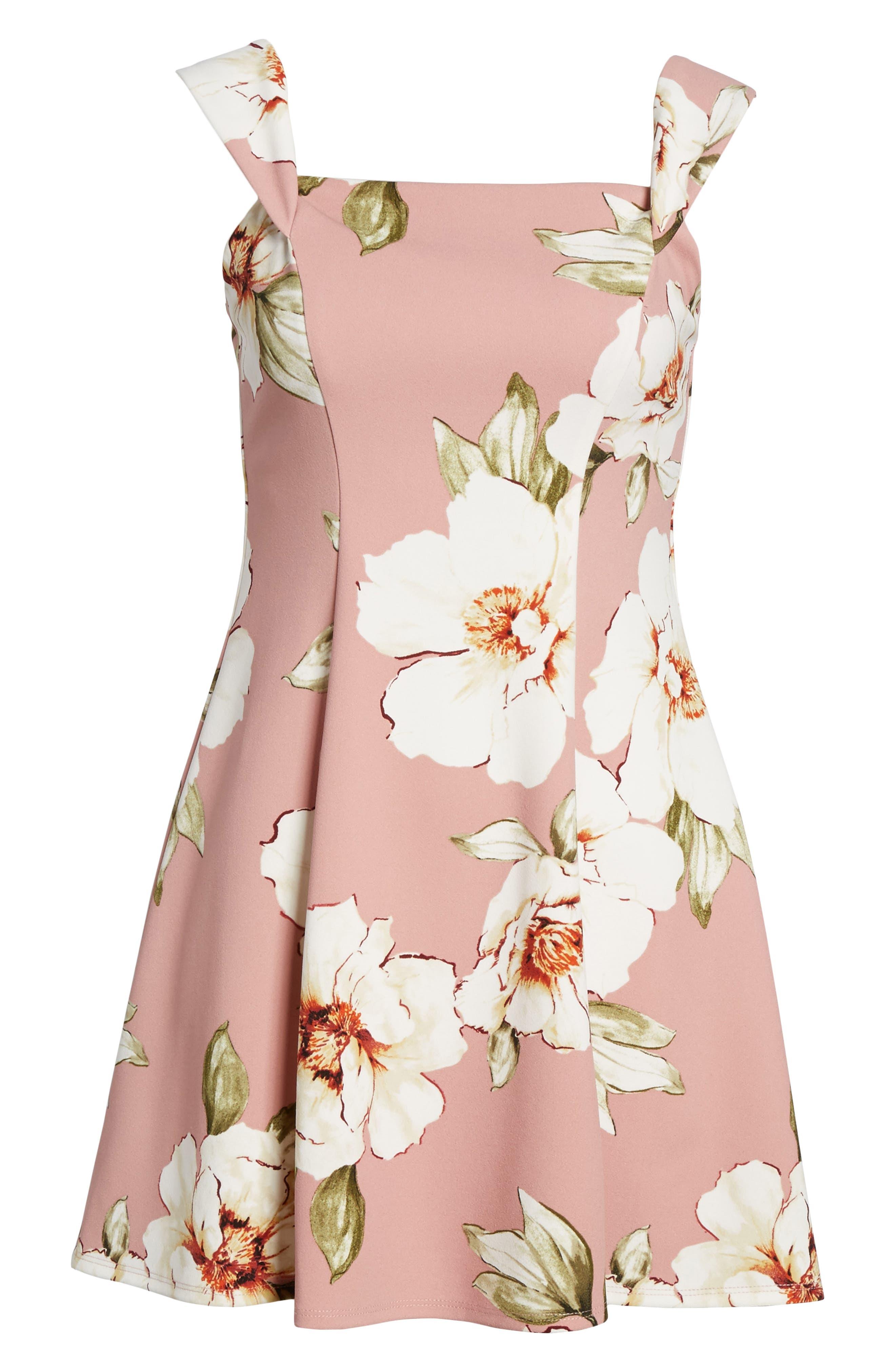 Floral Print Off the Shoulder A-Line Dress,                             Alternate thumbnail 6, color,