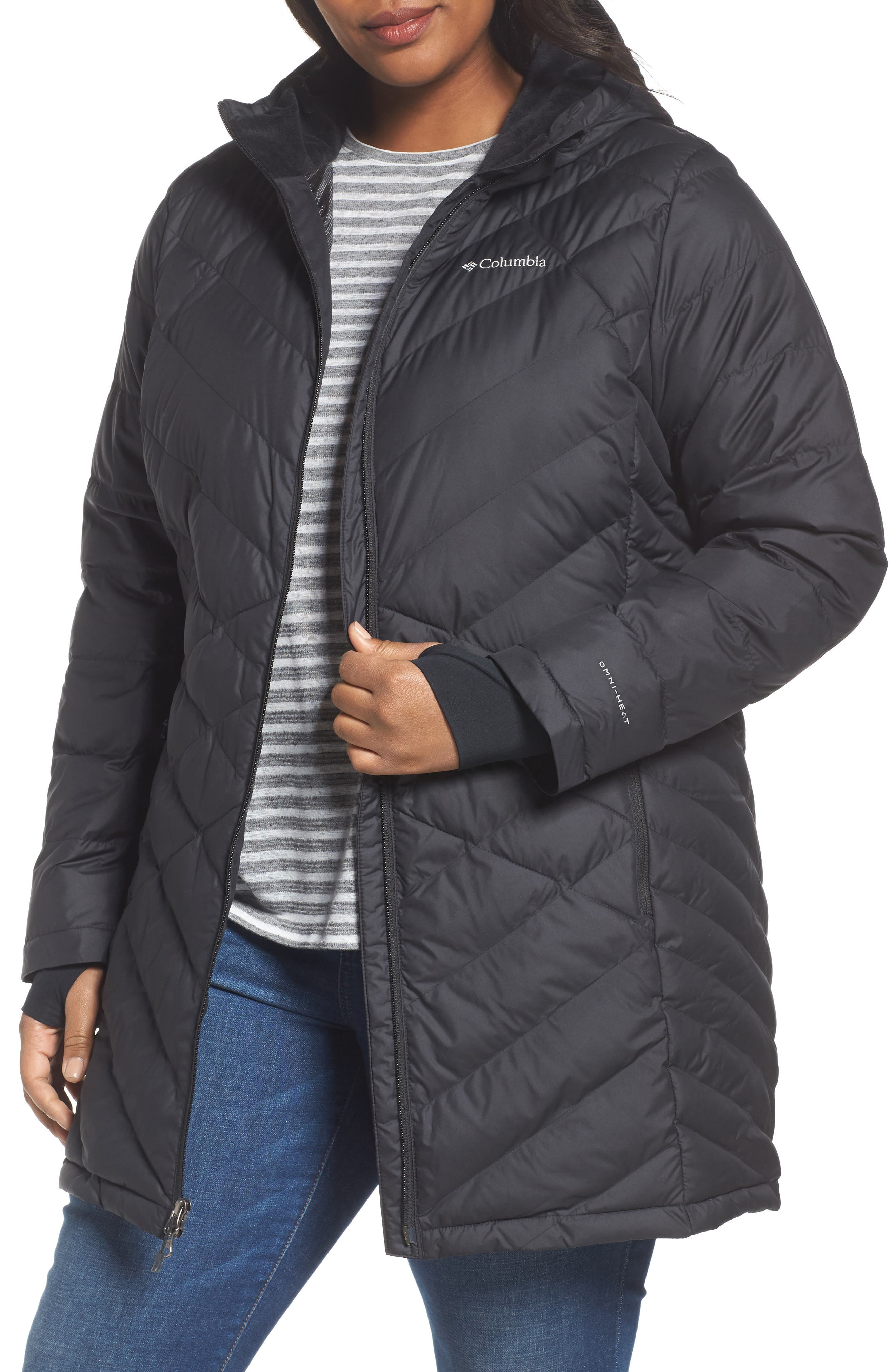 Heavenly Water Resistant Insulated Long Hooded Jacket, Main, color, 010