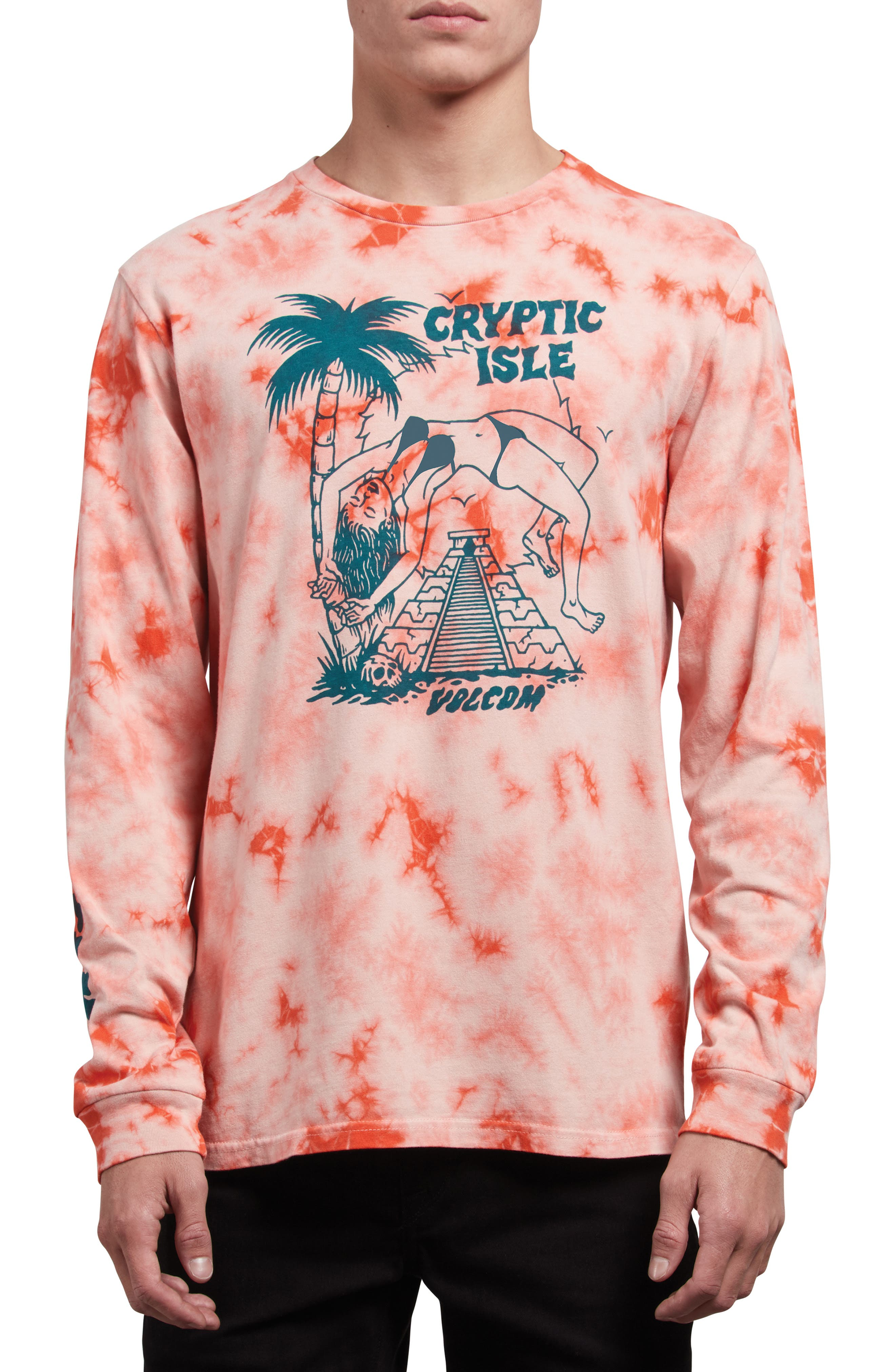 Tomb Graphic T-Shirt,                             Main thumbnail 1, color,                             ORANGE GLOW