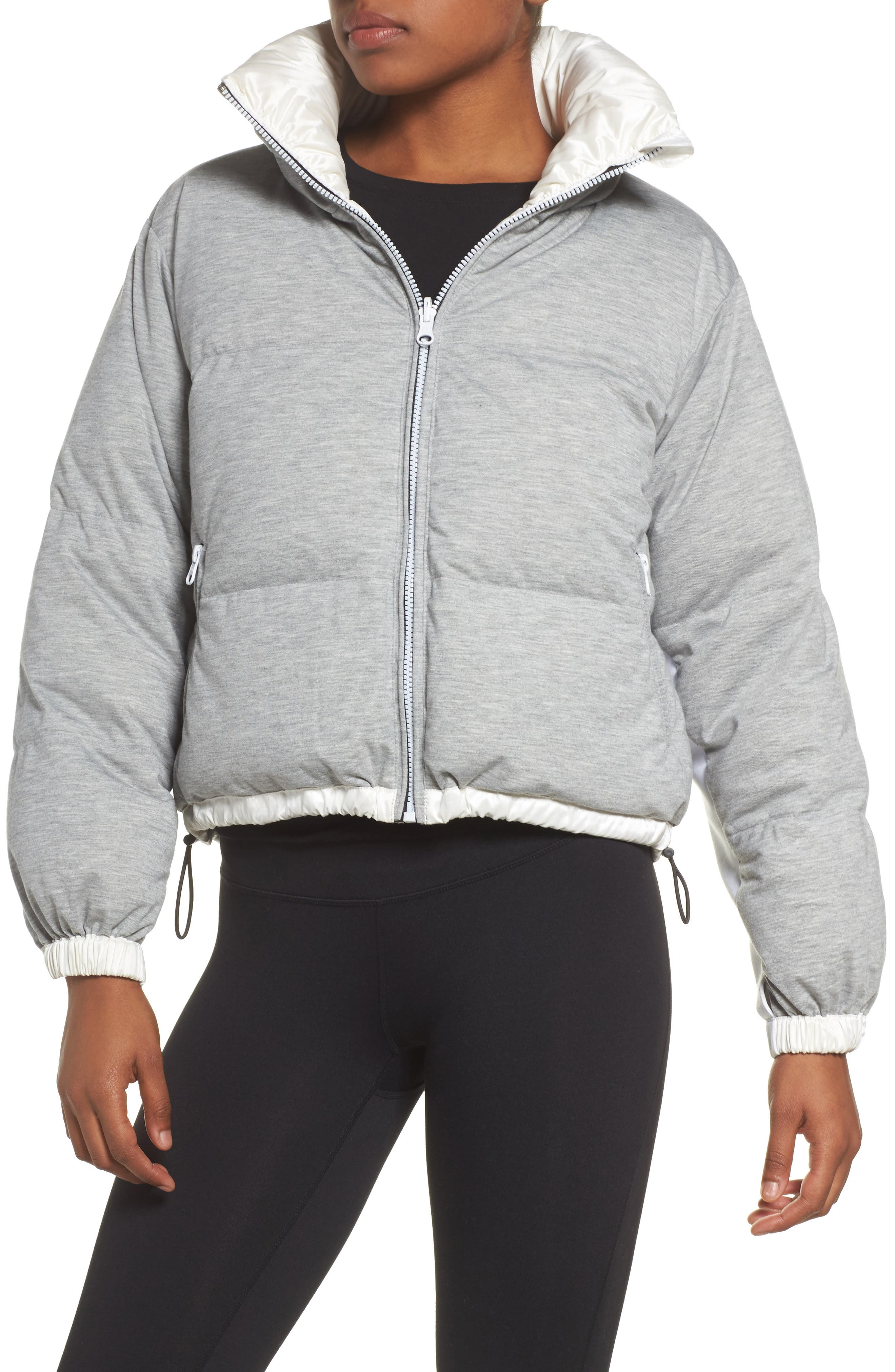 Reversible Puffer Jacket,                             Alternate thumbnail 2, color,                             WHITE/HEATHER GREY