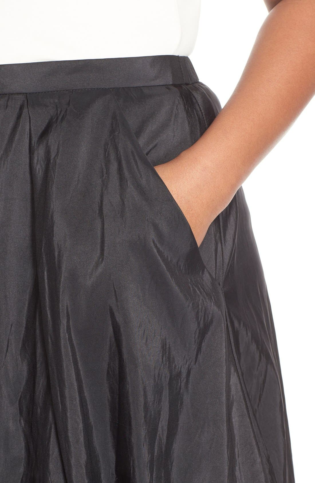 Taffeta Ballgown Skirt,                             Alternate thumbnail 4, color,                             BLACK