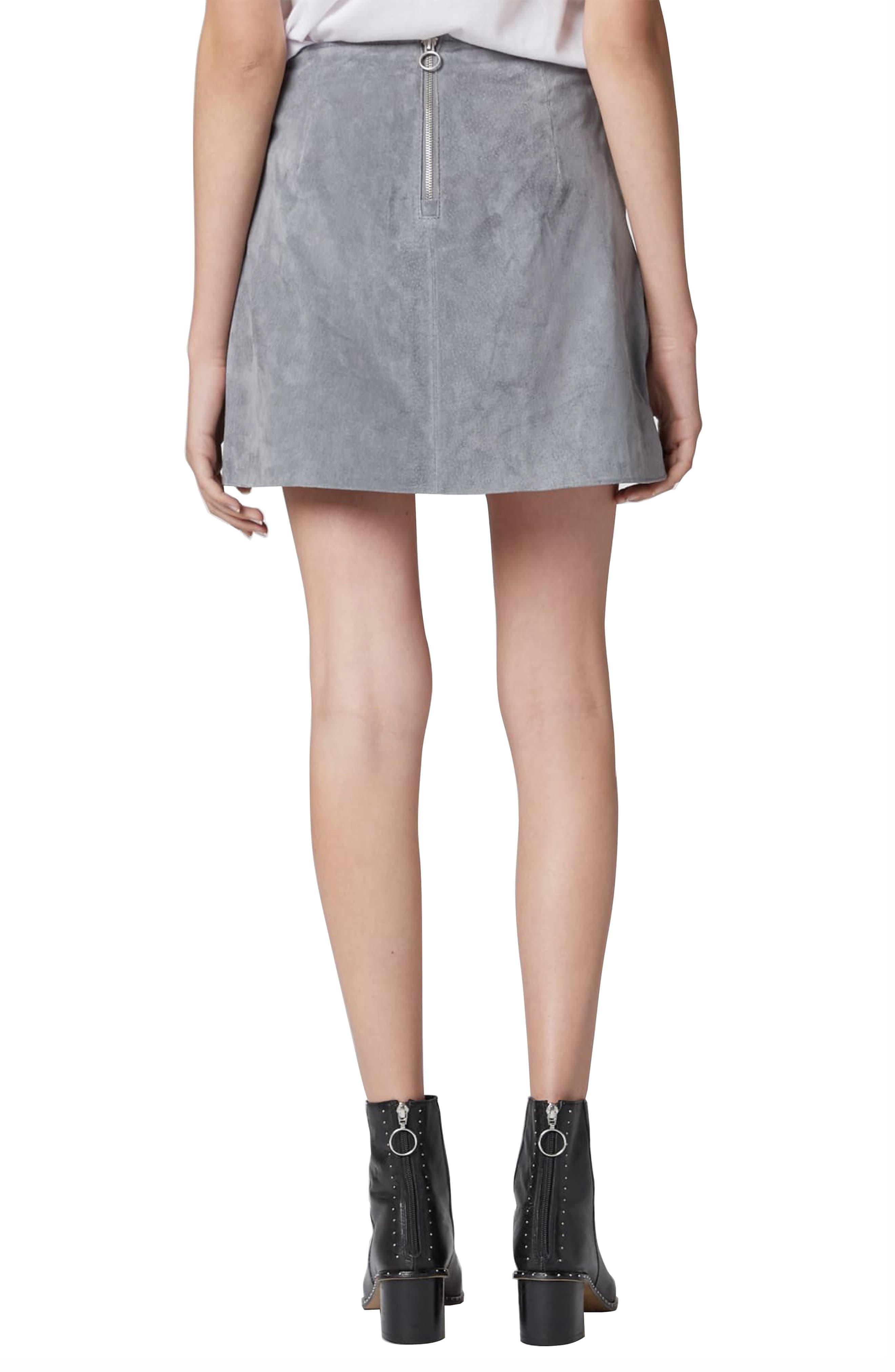 Suede Miniskirt,                             Alternate thumbnail 2, color,                             LONDON FOG